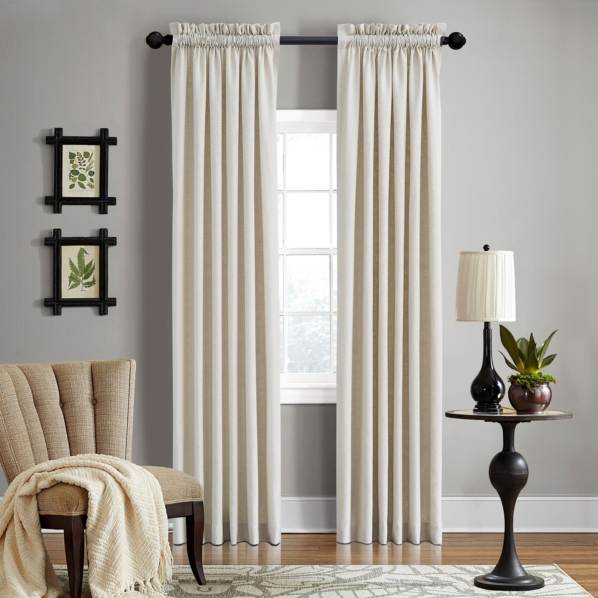 Grand Luxe Linen Gotham Khaki Rod Pocket Curtain Panel For Rod Pocket Curtain Panels (View 19 of 20)