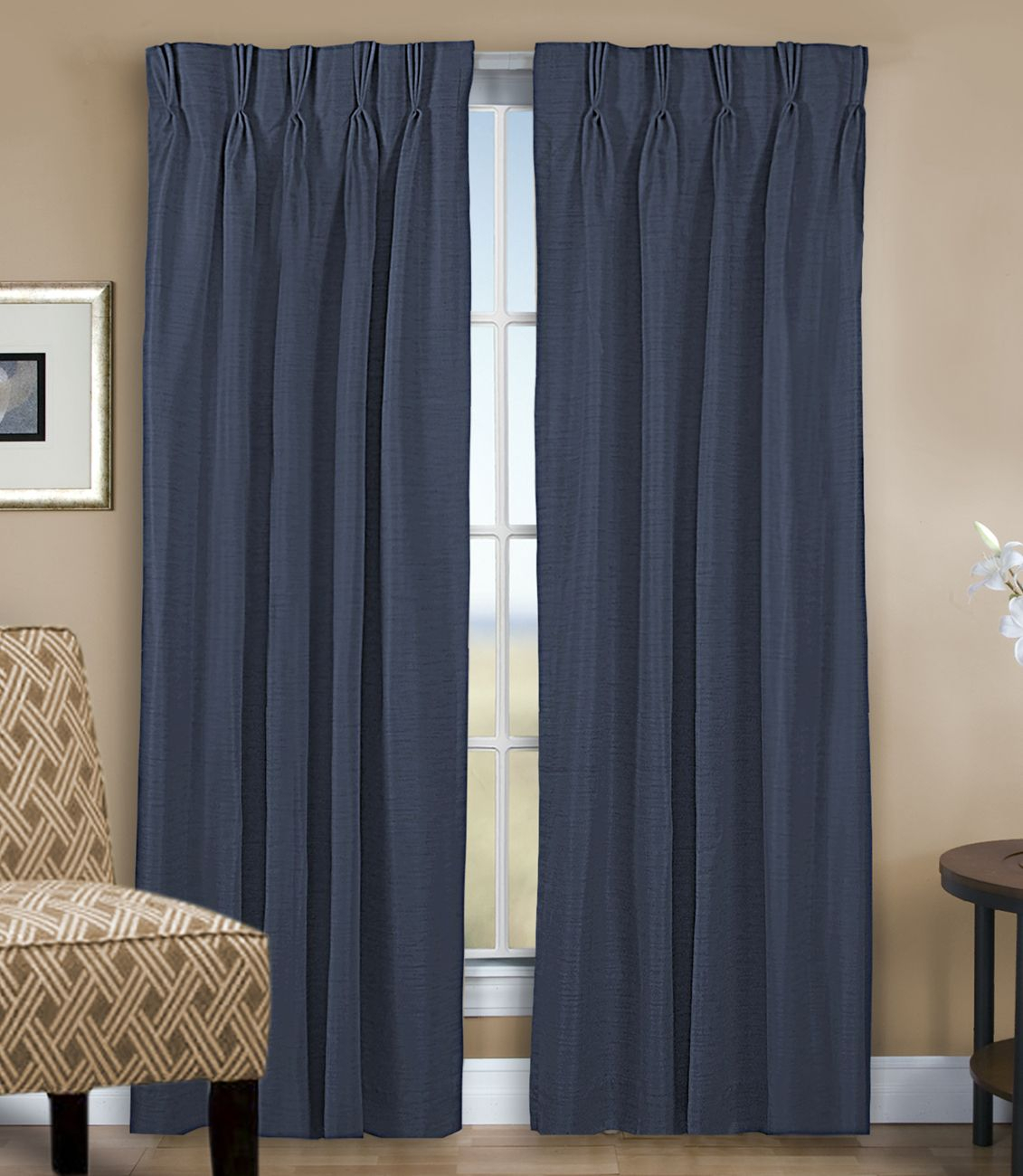 Grasscloth Lined Pinch Pleated (dual Header) Drapery Pair Throughout Double Pinch Pleat Top Curtain Panel Pairs (View 9 of 20)