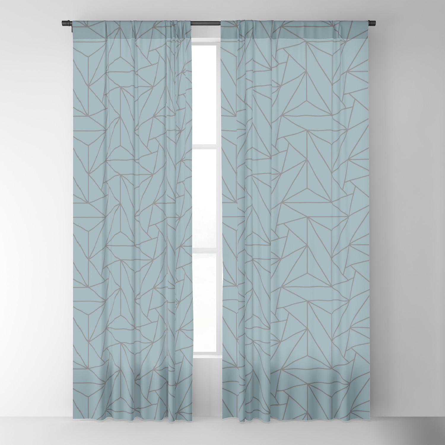 Gray & Pastel Blue Abstract Triangle Geometric Mosaic Shape Pattern Pairs  To 2020 Color Of The Year Blackout Curtainpipafineart Pertaining To Abstract Blackout Curtain Panel Pairs (Image 16 of 22)