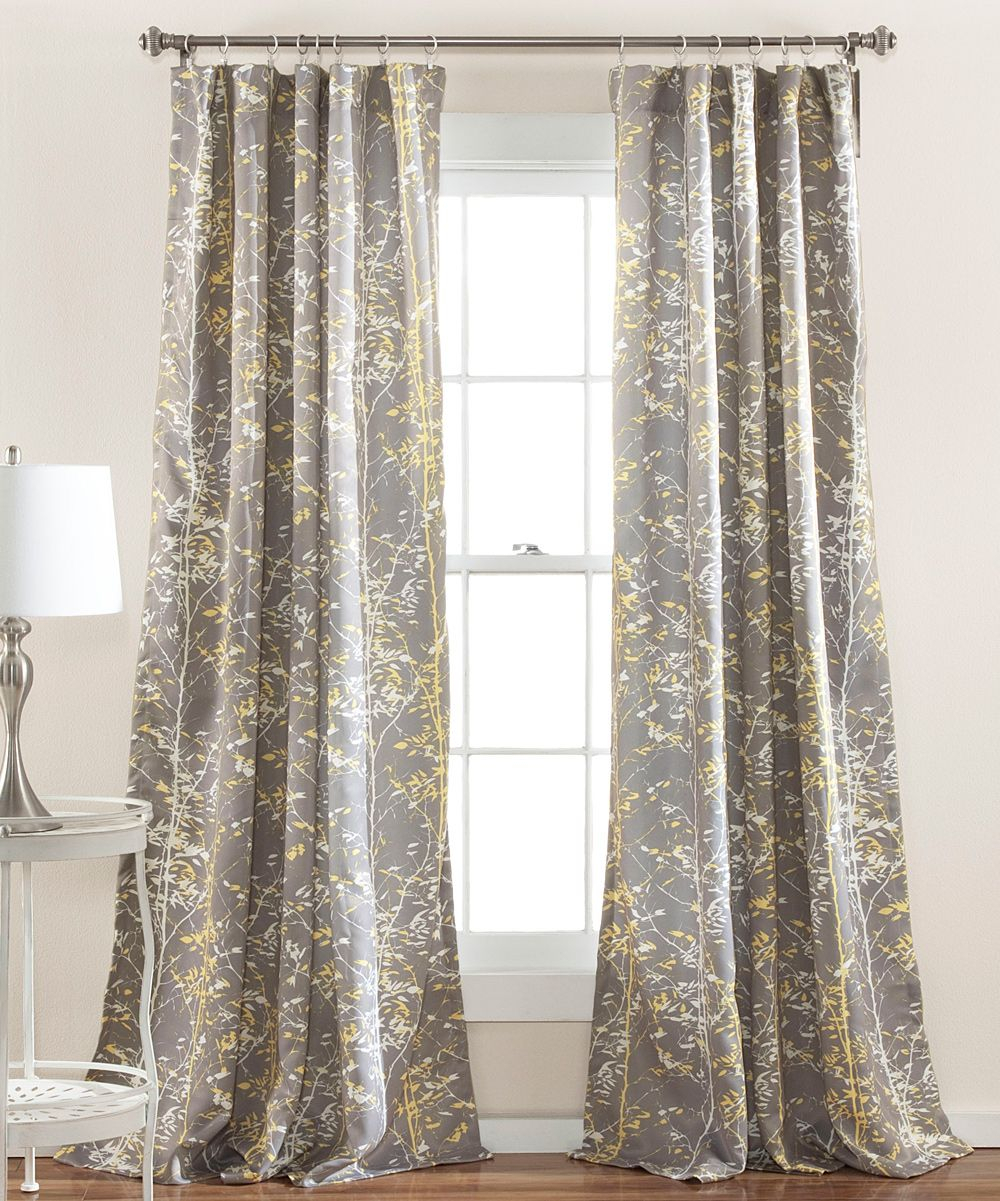 Gray & Yellow Woodland Curtain Panel – Set Of Two   Products Inside Gray Barn Dogwood Floral Curtain Panel Pairs (View 11 of 20)