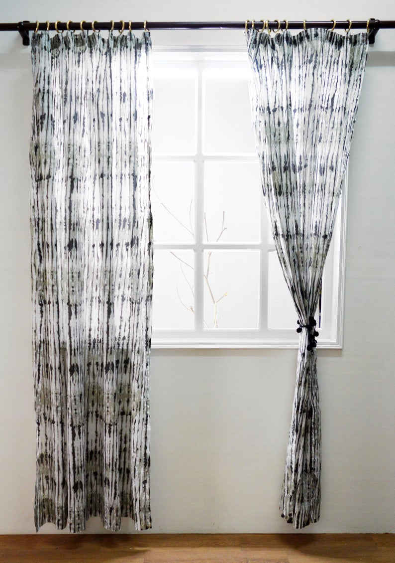 Grey Shibori Print Curtain Panel, Cotton Voile, Printed, Sheer Drape, Sizes Available With Grey Printed Curtain Panels (View 6 of 20)