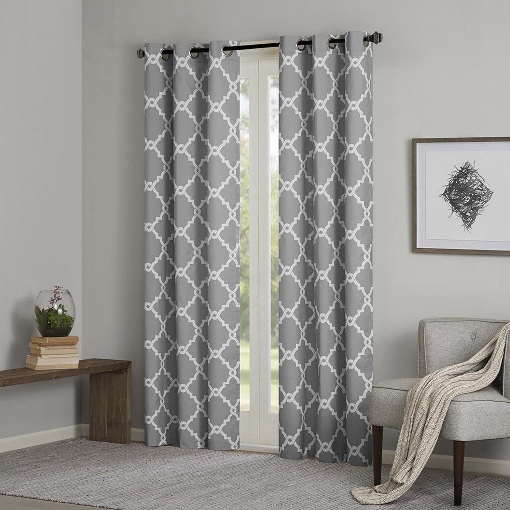 Grey & White Fretwork Design Curtain Panels And 50 Similar Items For Whitman Curtain Panel Pairs (View 23 of 30)