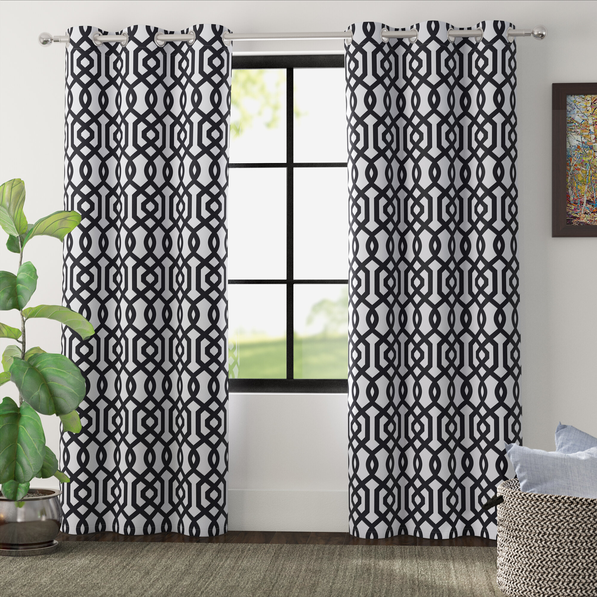 Grommet Curtain Patterns In Primebeau Geometric Pattern Blackout Curtain Pairs (View 14 of 20)