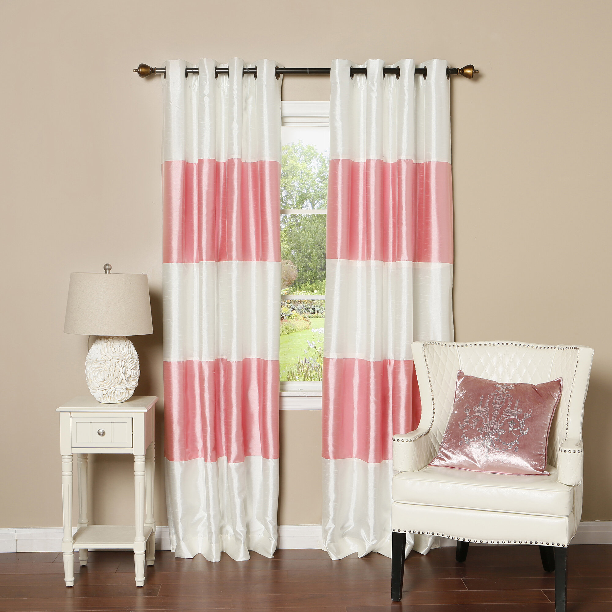 Grommet Striped Silk Blackout Thermal Panel Pair Within Penny Sheer Grommet Top Curtain Panel Pairs (View 10 of 20)
