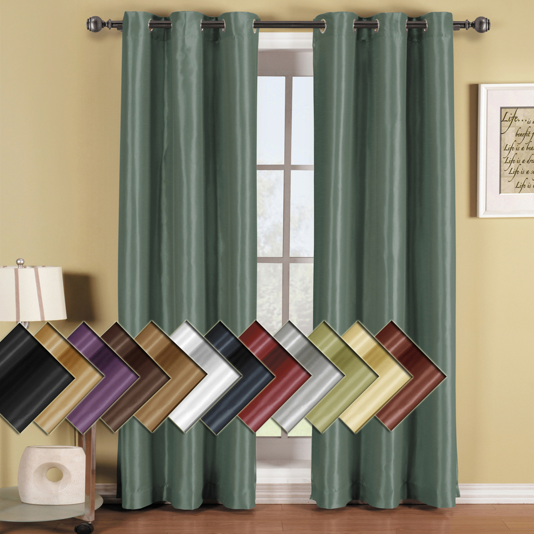 Grommet Thermal Insulated Blackout Curtains – Home The Honoroak Regarding Silvertone Grommet Thermal Insulated Blackout Curtain Panel Pairs (View 22 of 30)