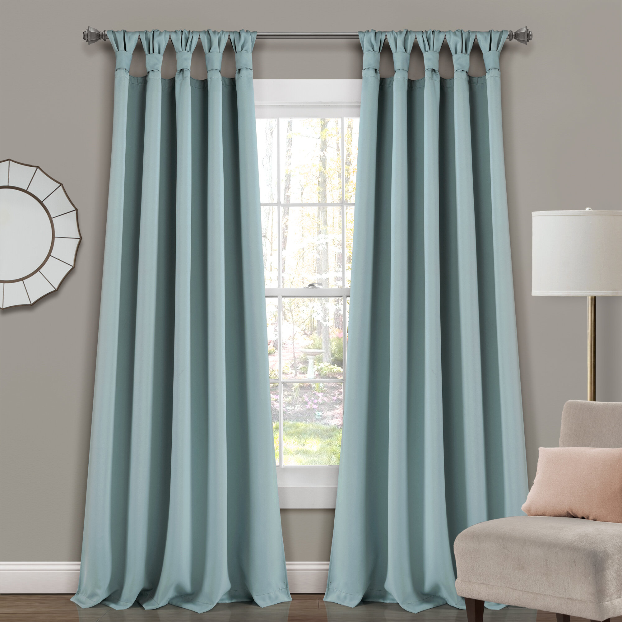 Guthridge Knotted Tab Top Solid Color Thermal Blackout Panel Pair Intended For Knotted Tab Top Window Curtain Panel Pairs (View 8 of 20)