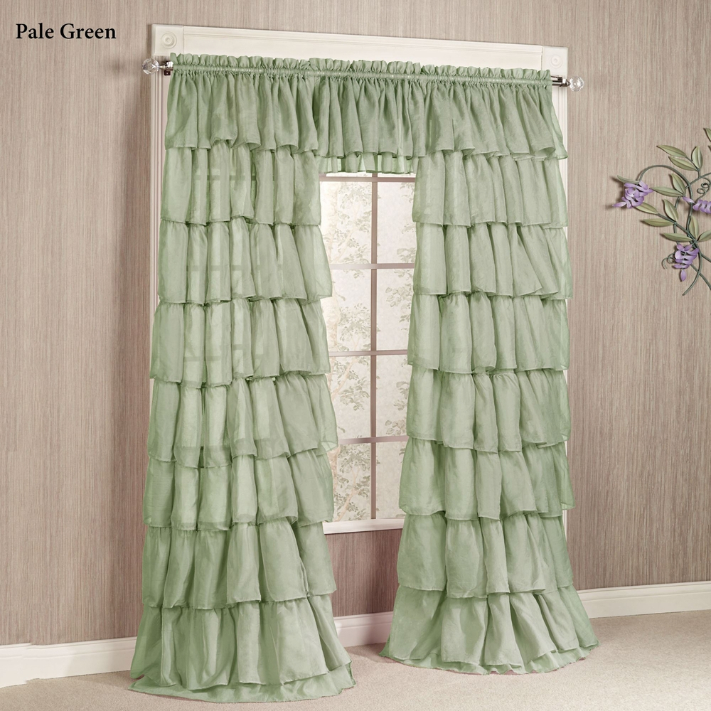 Gypsy Layered Ruffled Voile Rod Pocket Curtain Panel Inside Sheer Voile Ruffled Tier Window Curtain Panels (View 12 of 20)