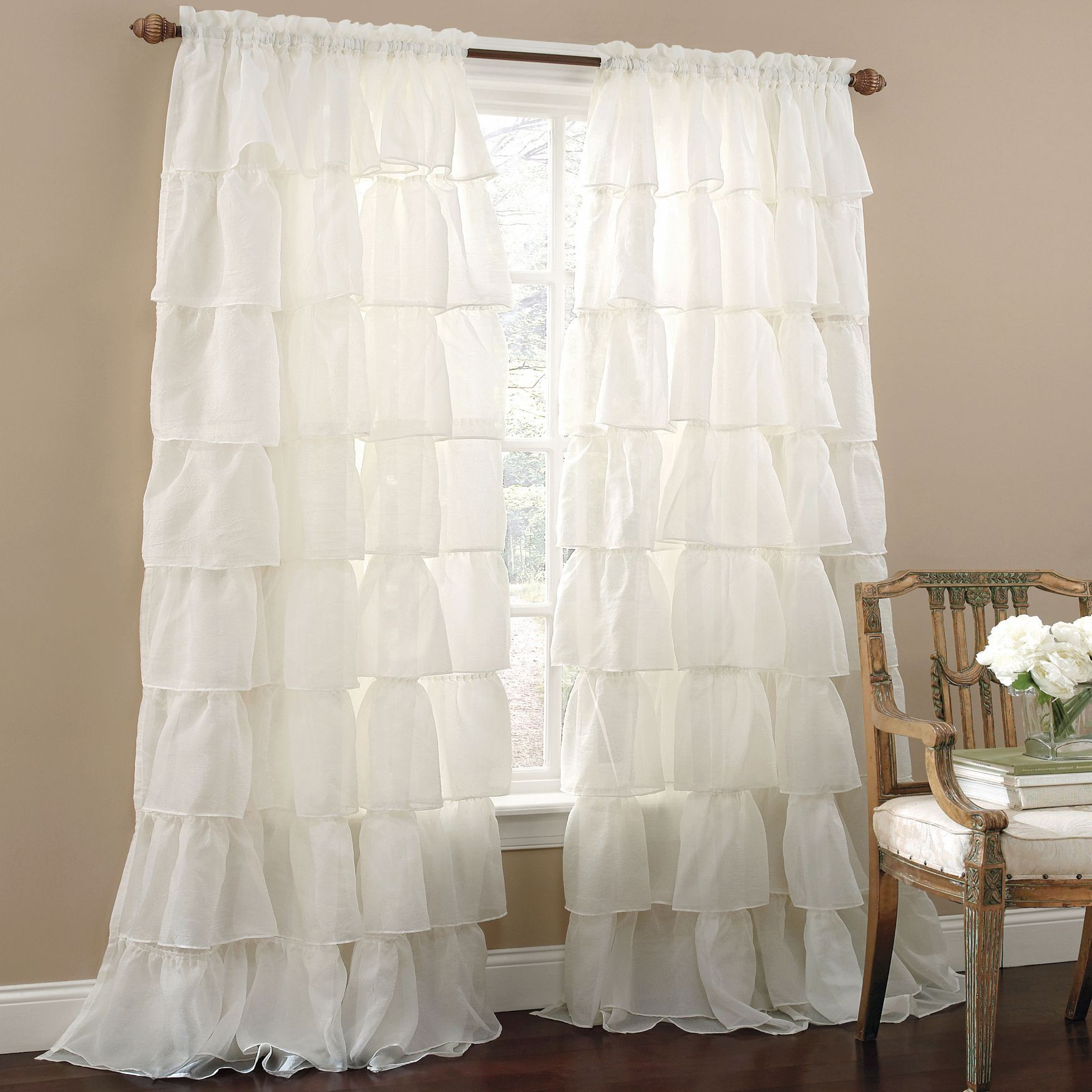 Gypsy Ruffled Voile Rod Pocket Panel | Curtains & Drapes In Sheer Voile Ruffled Tier Window Curtain Panels (View 13 of 20)