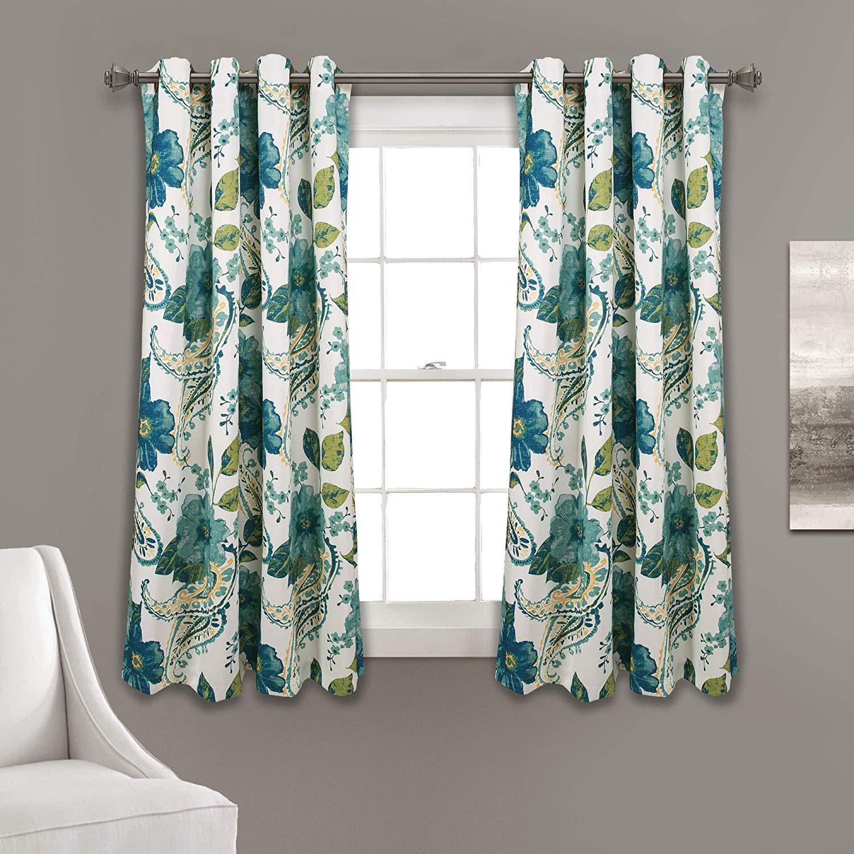 Half Moon Floral Paisley Room Darkening Window Curtain Panels Blue 52x63 Set Within Weeping Flowers Room Darkening Curtain Panel Pairs (View 22 of 30)