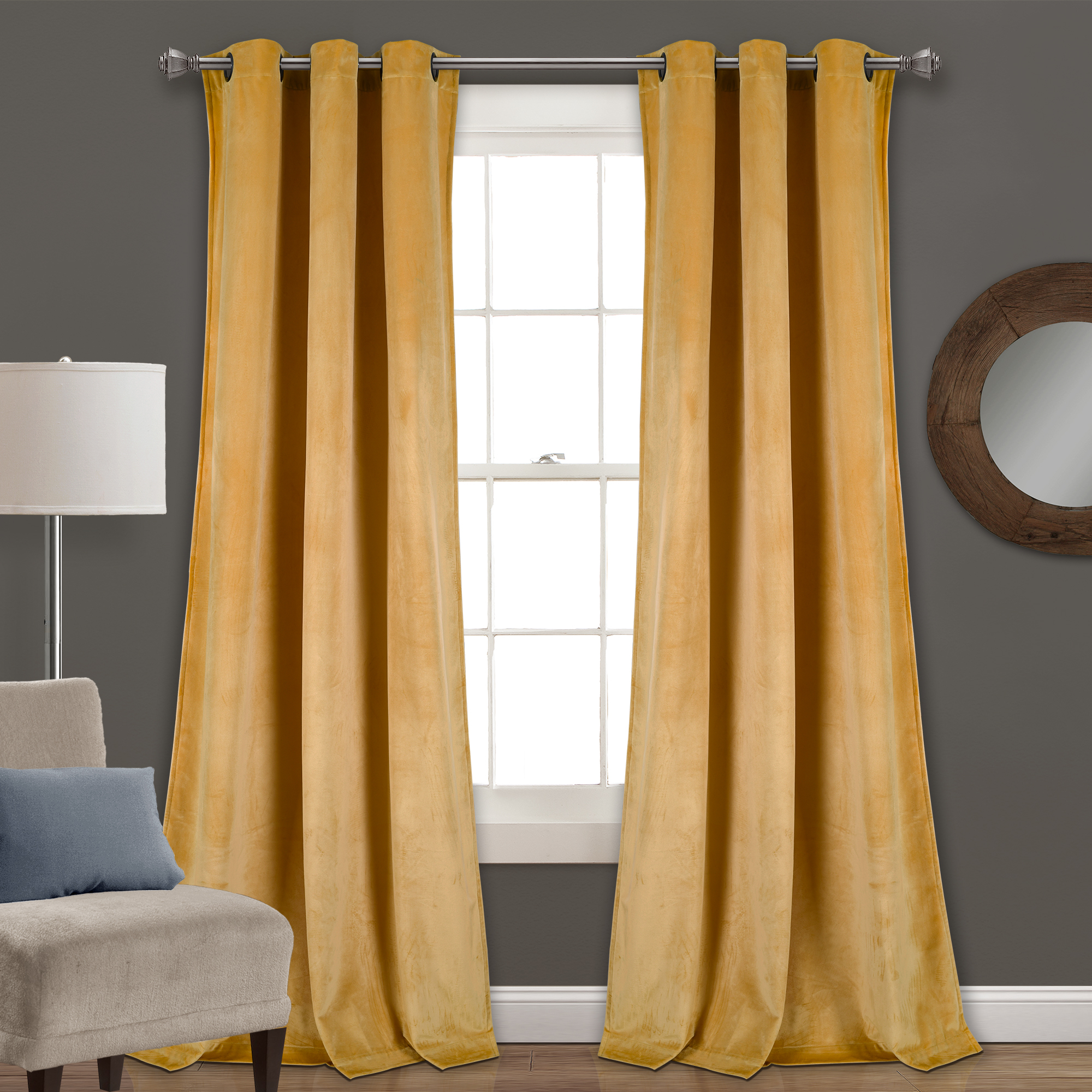 Half Moon Prima Velvet Solid Room Darkening Window Curtain Panels Yellow 38x84 Set With Velvet Solid Room Darkening Window Curtain Panel Sets (View 4 of 30)