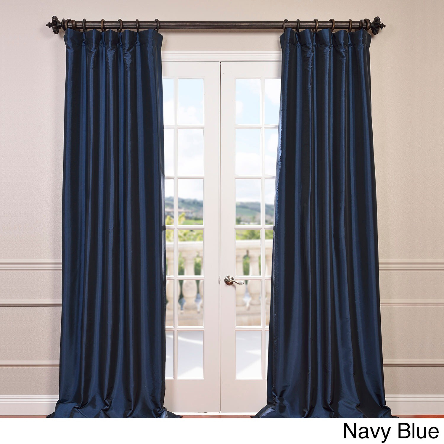 Half Price Drapes Ptch Bo005 108 Blackout Faux Silk Taffeta In Solid Faux Silk Taffeta Graphite Single Curtain Panels (View 17 of 30)
