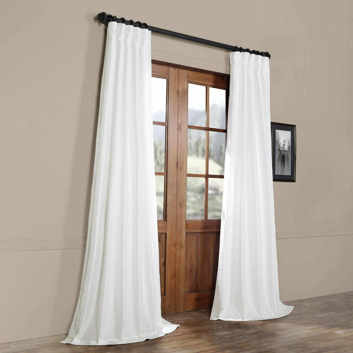 Half Price Drapes White Faux Silk Taffeta Single Panel Curtain, 50 X 108 With Solid Faux Silk Taffeta Graphite Single Curtain Panels (View 18 of 30)