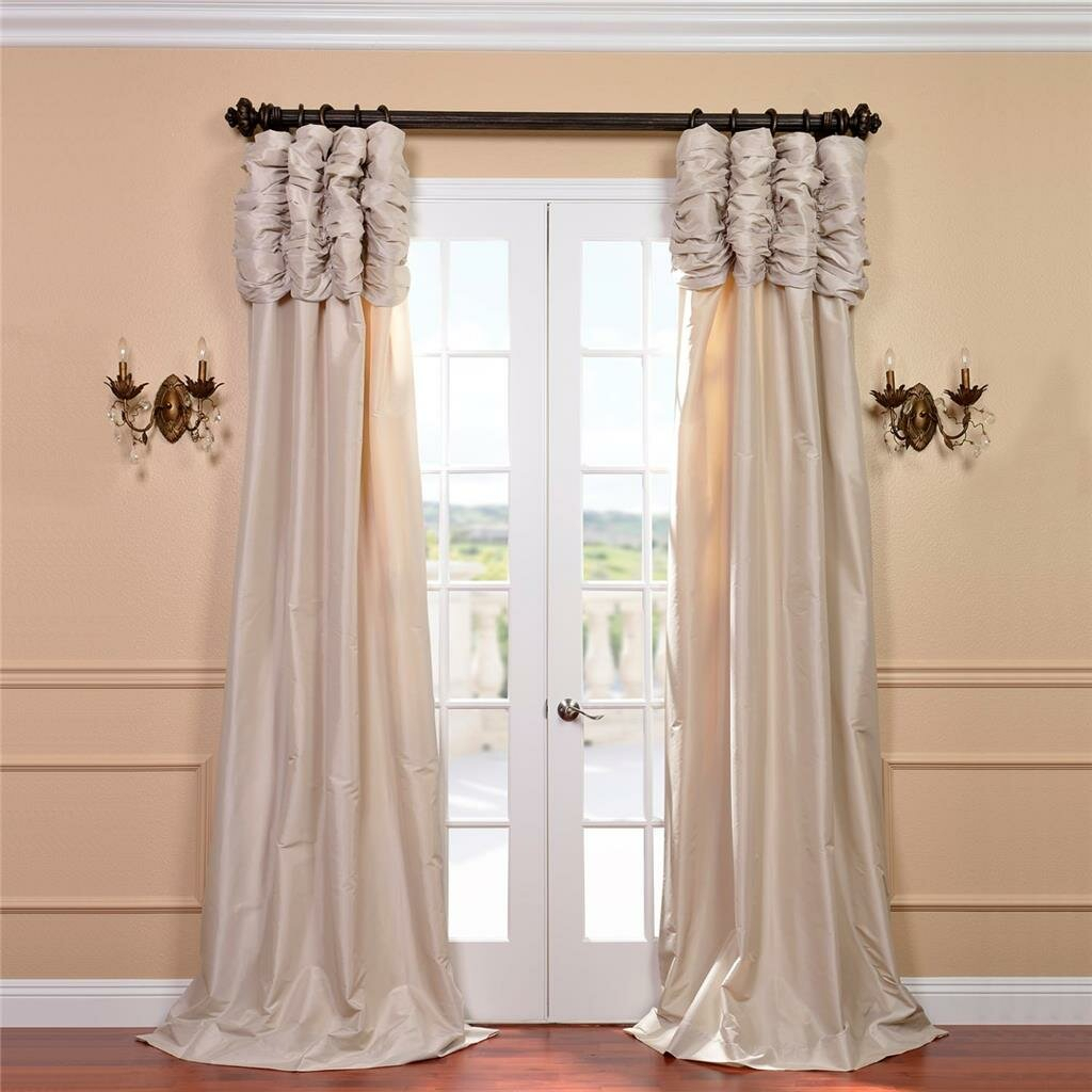 Hallman Ruched Faux Silk Taffeta Thermal Rod Pocket Single Curtain Panel Pertaining To Solid Faux Silk Taffeta Graphite Single Curtain Panels (View 19 of 30)