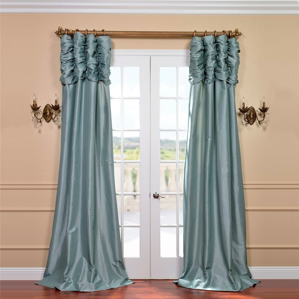 Hallman Ruched Polyester Single Curtain Panel Throughout Solid Faux Silk Taffeta Graphite Single Curtain Panels (View 21 of 30)