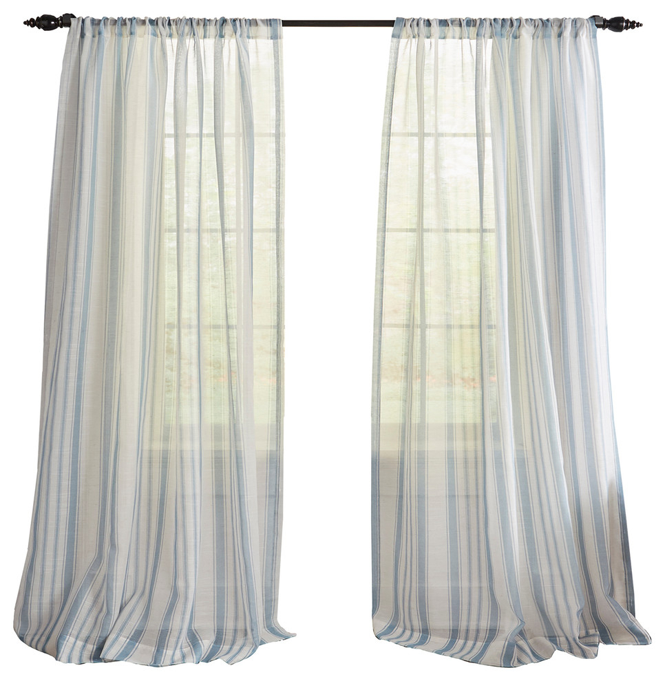 "Hampton Stripe Sheer Window Curtain, Blue, 52""x84"" Throughout Grainger Buffalo Check Blackout Window Curtains (View 10 of 20)"