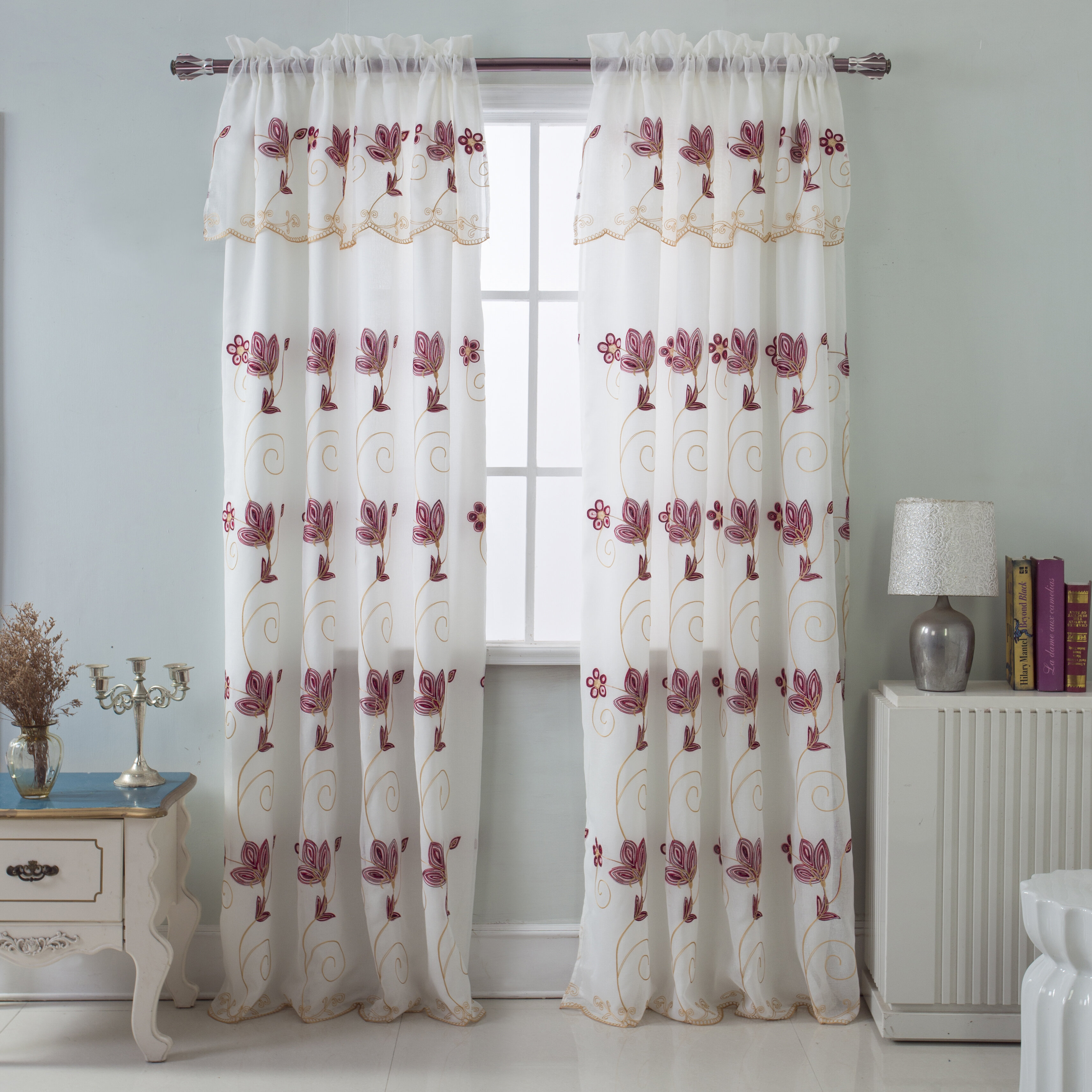 Harpenden Embroidered Satin Layered Floral/flower Semi Sheer Rod Pocket Single Curtain Panel Pertaining To Ombre Embroidery Curtain Panels (View 20 of 20)