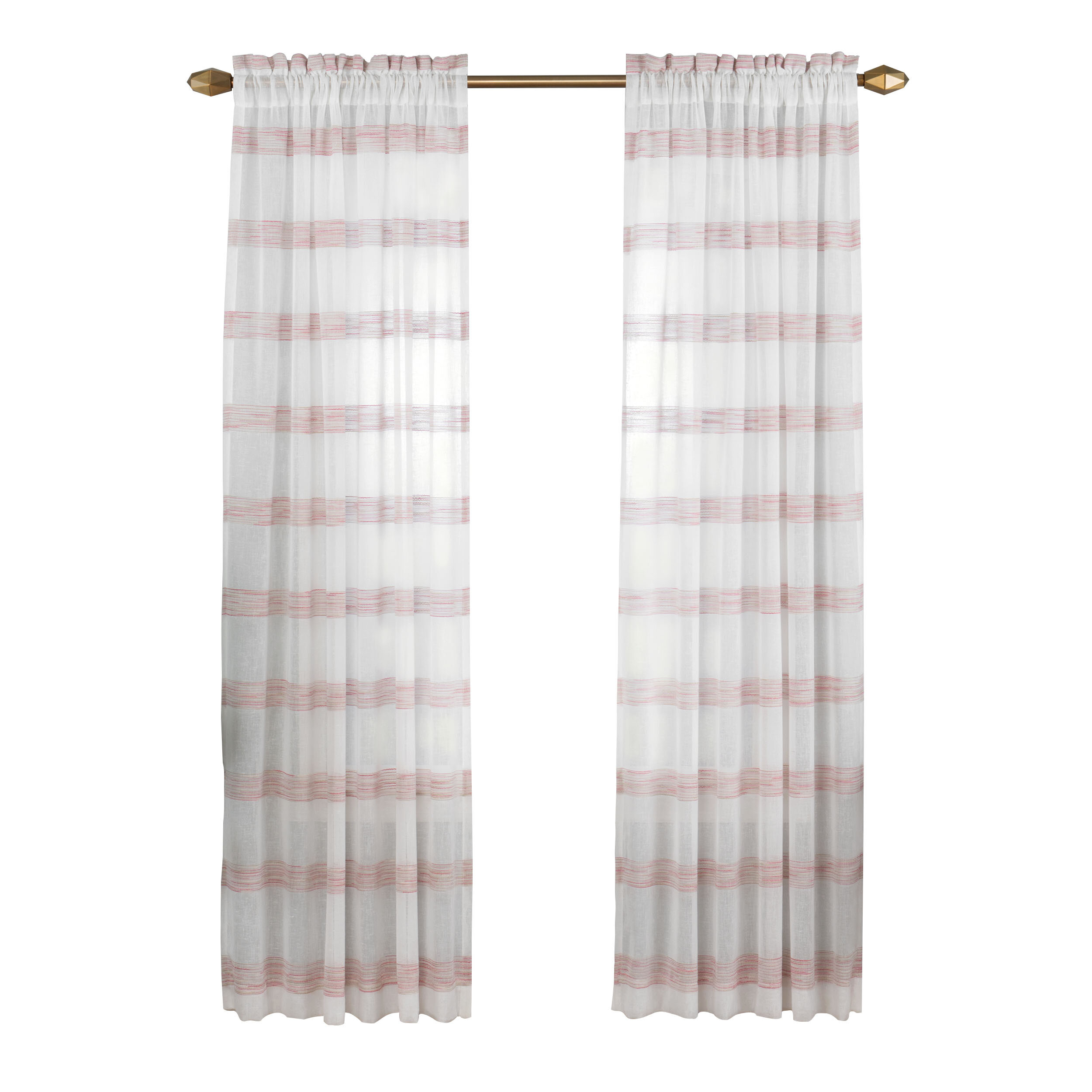 Hawkinsville Window Striped Semi Sheer Single Curtain Panel With Regard To Emily Sheer Voile Grommet Curtain Panels (View 19 of 20)