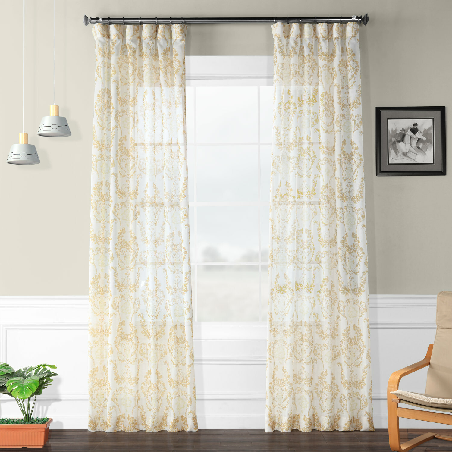 Hayman Printed Faux Linen Polyester Single Curtain Panel Pertaining To Heavy Faux Linen Single Curtain Panels (View 11 of 20)