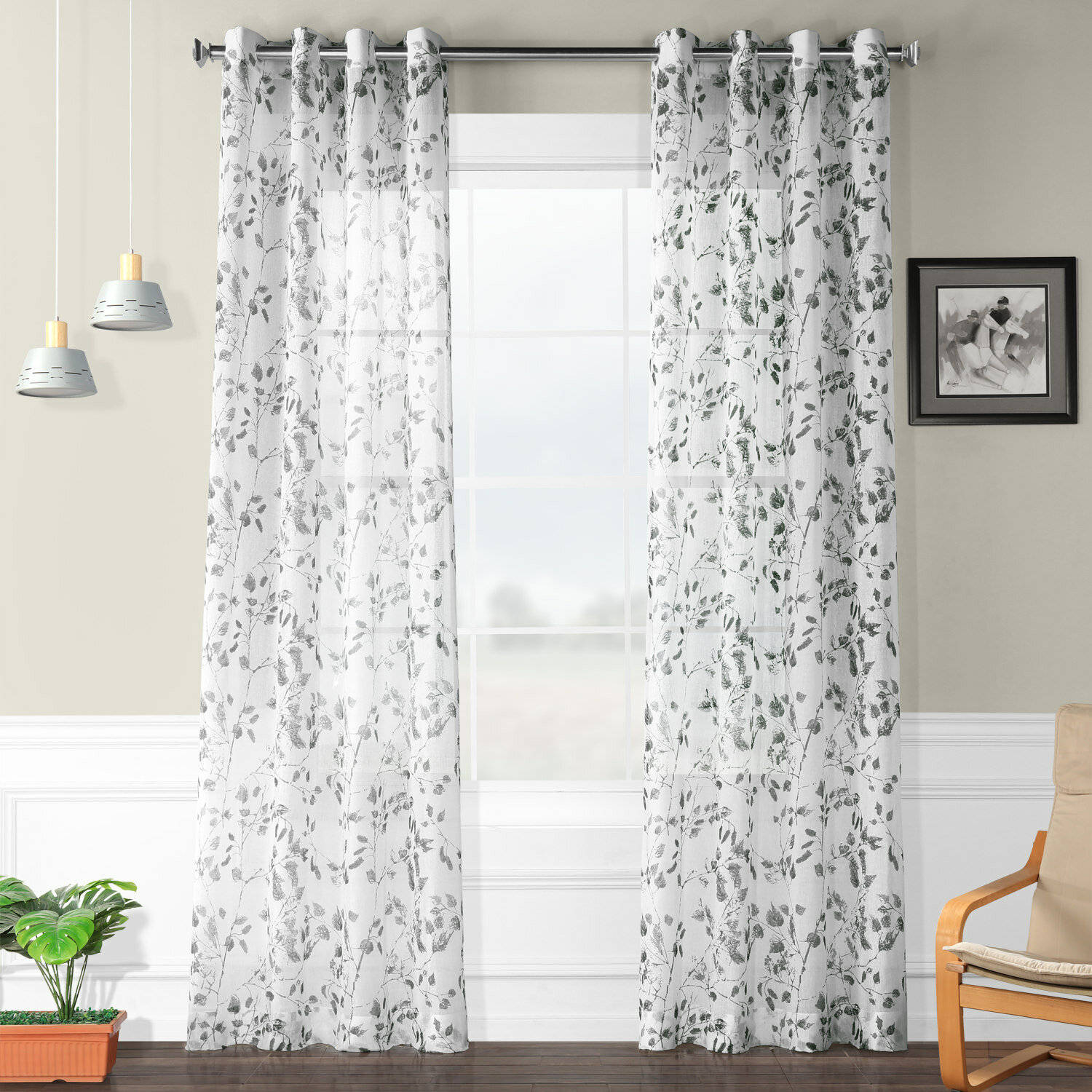 Haynie Grommet Printed Sheer Polyester Single Curtain Panel Throughout Grey Printed Curtain Panels (View 19 of 20)