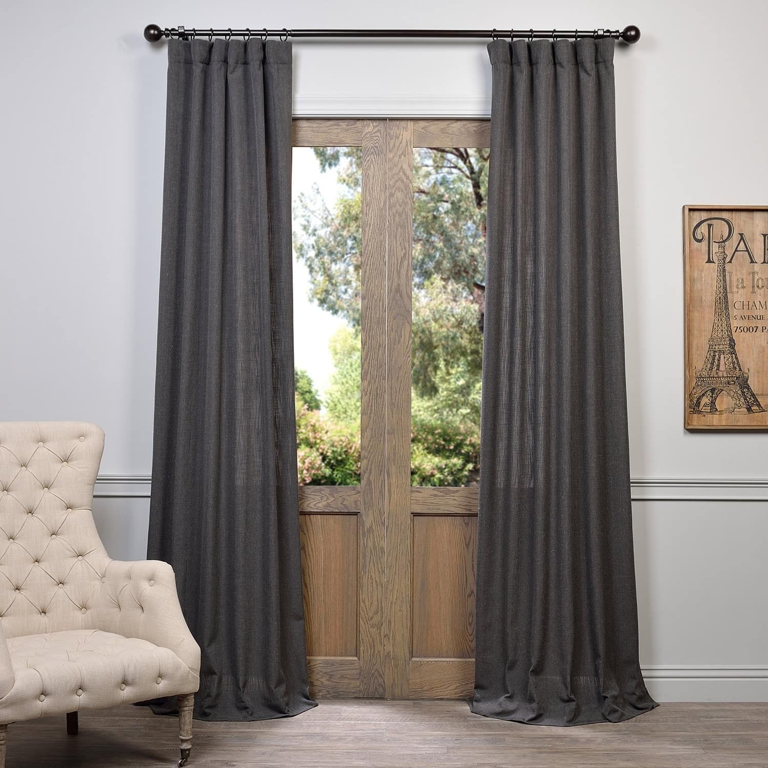 Heavy Faux Linen Single Curtain Panel In 2019 | Harmony Regarding Heavy Faux Linen Single Curtain Panels (View 5 of 20)