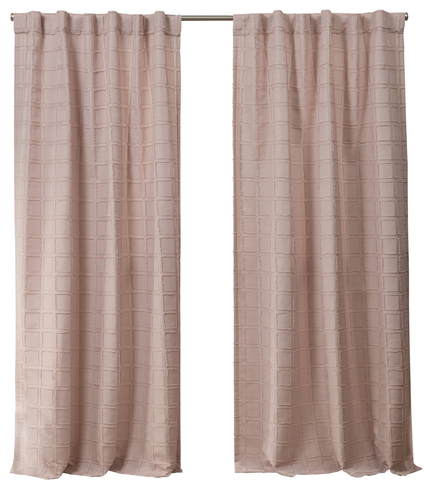 "Helix Embellished Square Hidden Tab Top Curtain Panels, Set Of 2, Blush, 54""x84"" Throughout Tab Top Sheer Single Curtain Panels (View 22 of 30)"