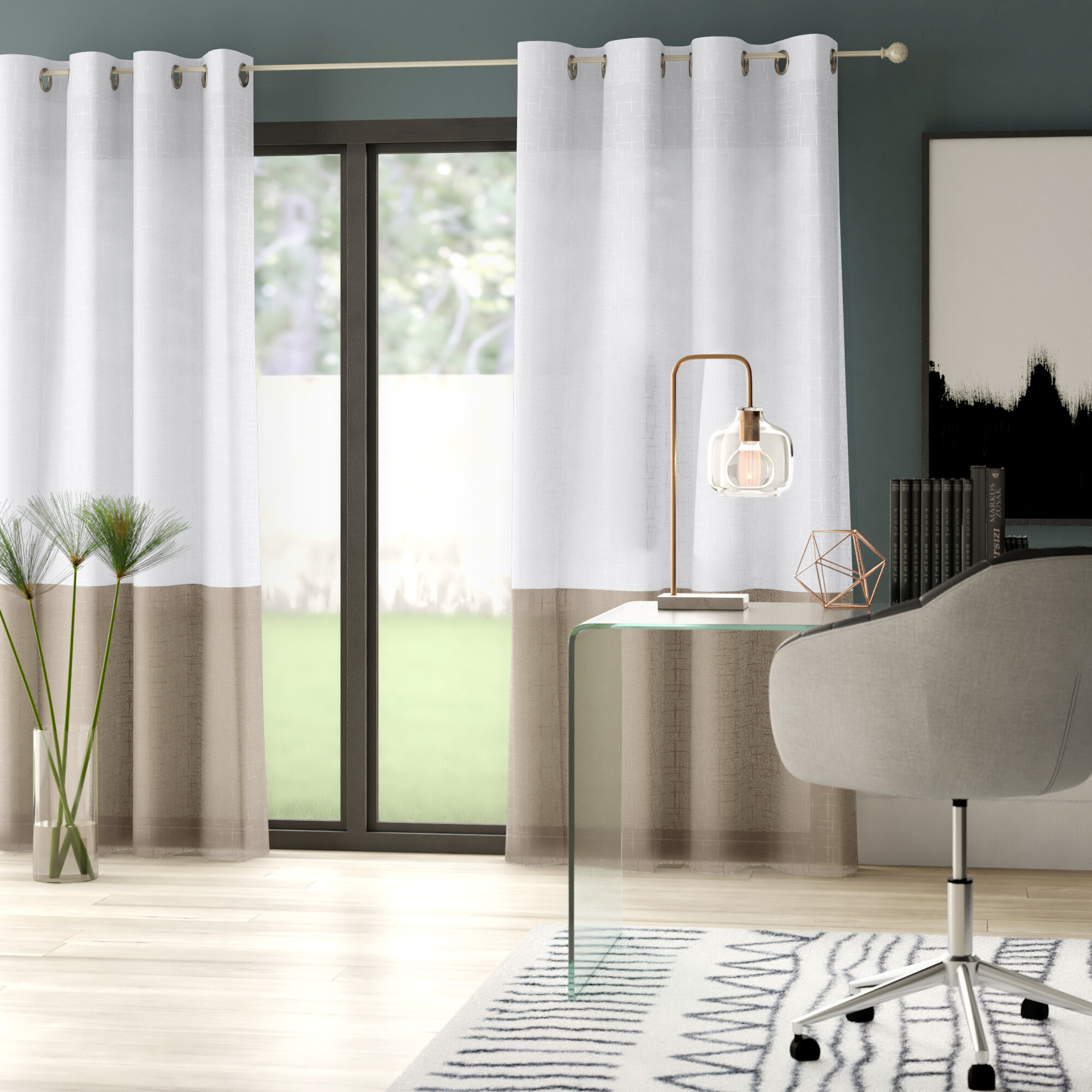 Hiers Striped Semi Sheer Grommet Single Curtain Panel Intended For Single Curtain Panels (View 24 of 31)