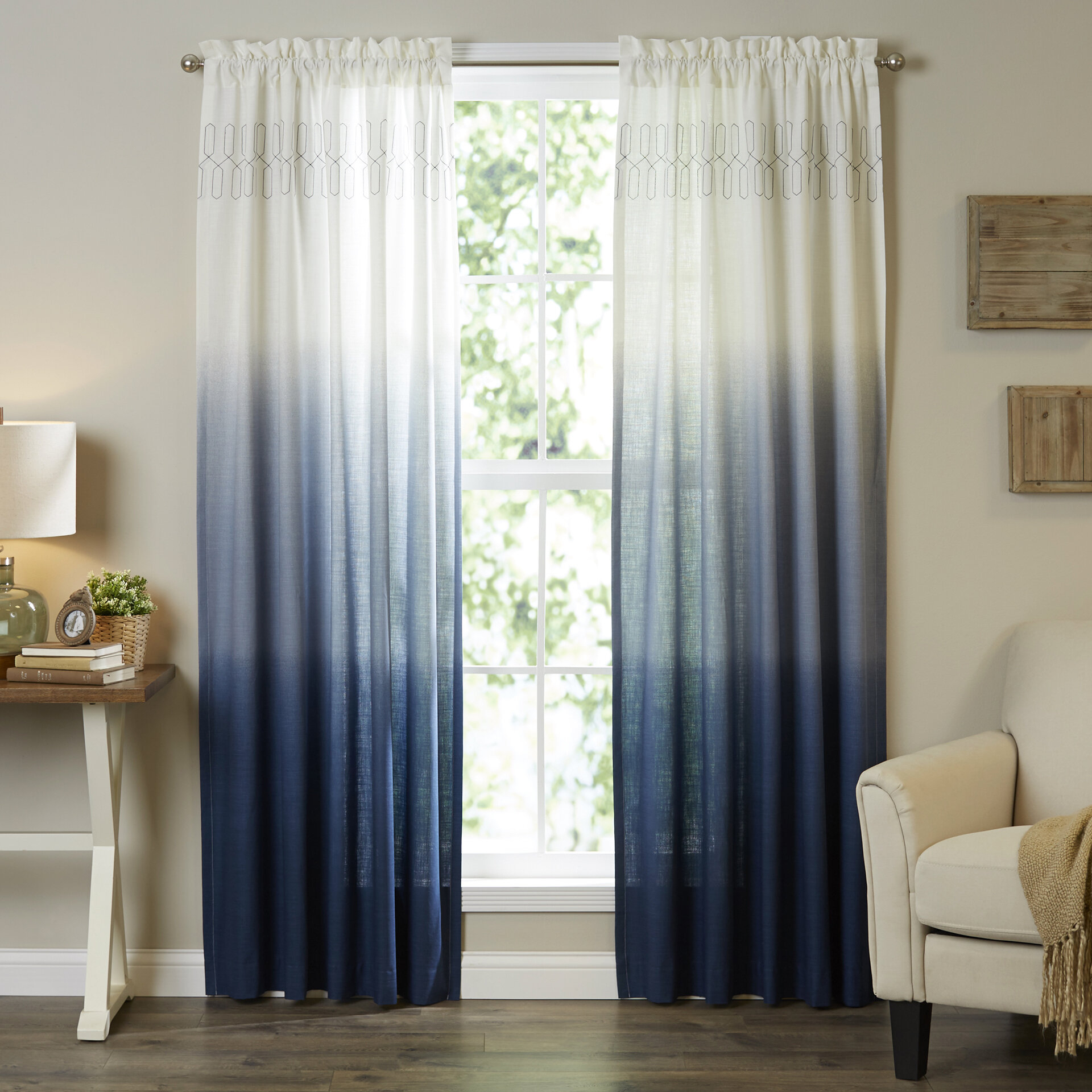 Higbee Solid Sheer Rod Pocket Single Curtain Panel With Regard To Ombre Embroidery Curtain Panels (View 6 of 20)