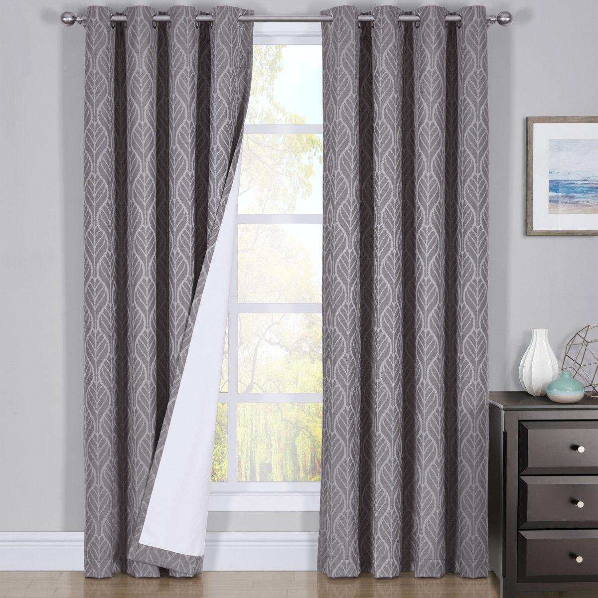 Hilton Blackout Curtains Panels Jacquard Thermal Insulated Pairs Pertaining To Thermal Insulated Blackout Curtain Pairs (View 5 of 30)