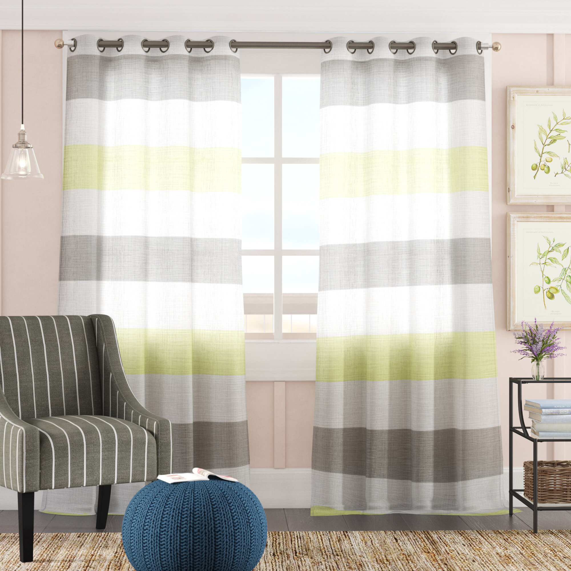 Hiltonia Striped Semi Sheer Grommet Curtain Throughout Ombre Stripe Yarn Dyed Cotton Window Curtain Panel Pairs (View 7 of 20)