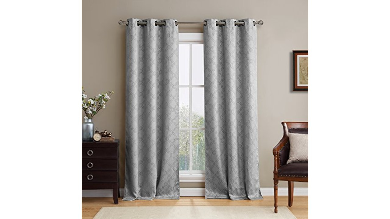 """Hlc Lattice Thermal Blackout Grommet Top Window Curtain Panels – Pair – 38"""" X 84""""(Each Panel) Inch Long (Light Grey) With Solid Insulated Thermal Blackout Long Length Curtain Panel Pairs (View 19 of 30)"""