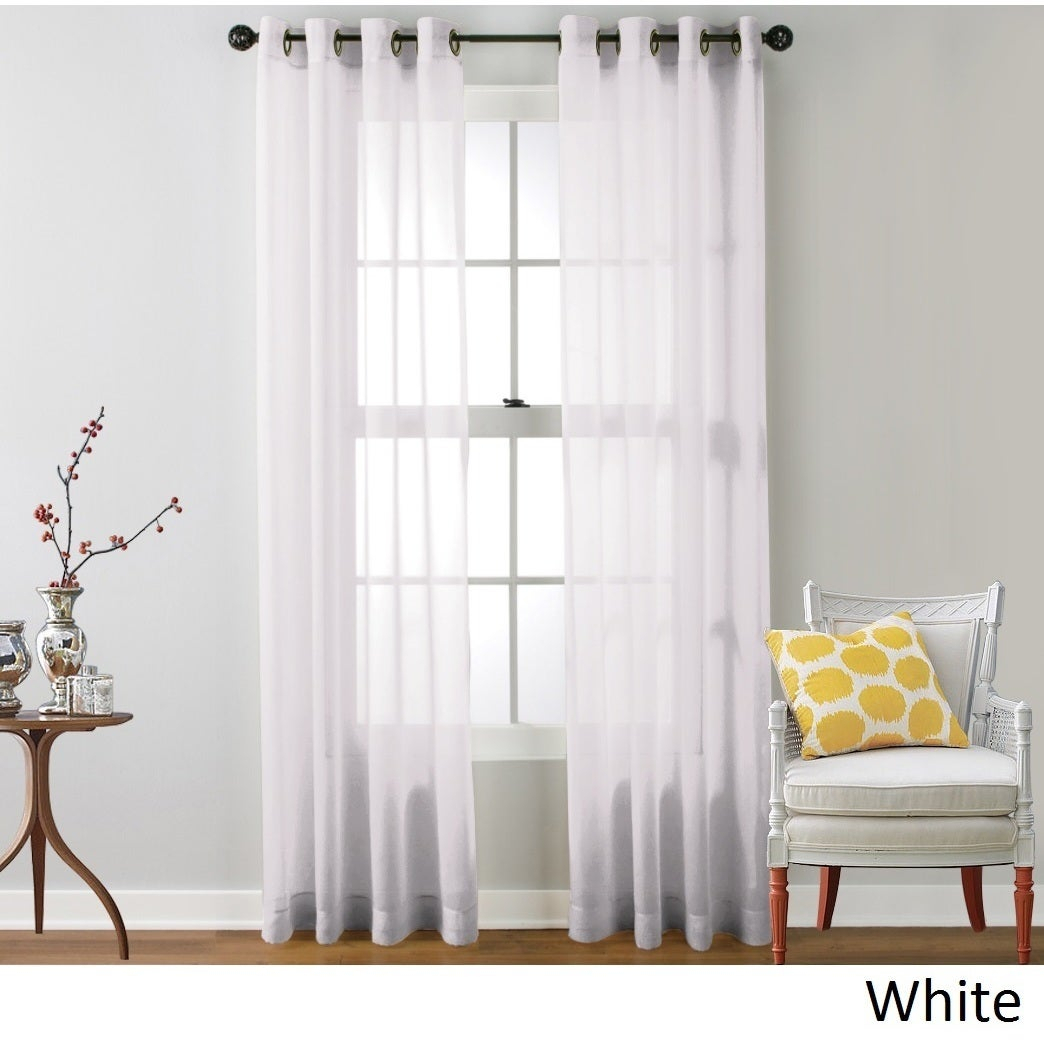 Hlc Sheer Voile Grommet Top Curtain Panel Pair regarding Luxury Collection Venetian Sheer Curtain Panel Pairs (Image 11 of 20)