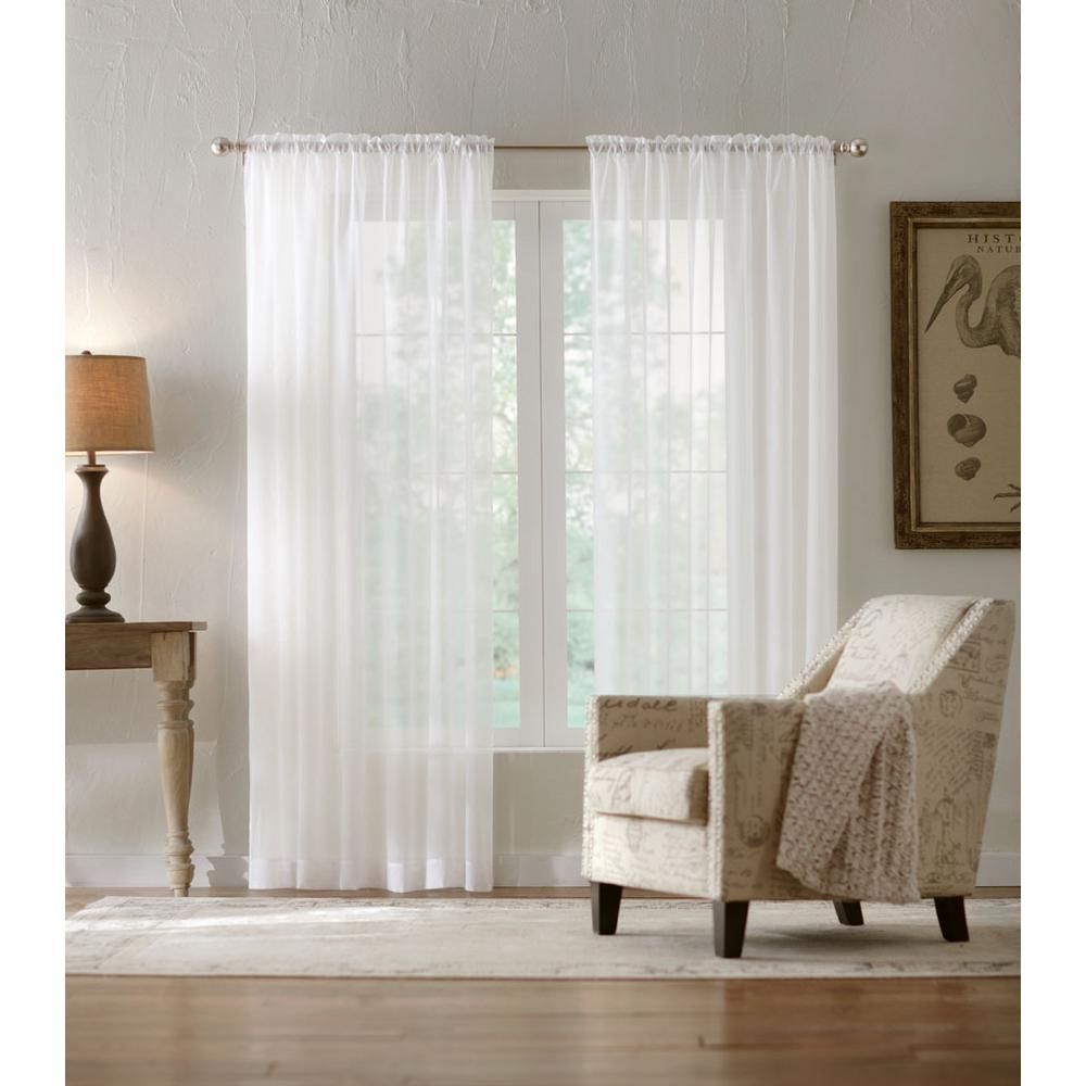 Home Decorators Collection Sheer Voile Window Panel In White Intended For Jacob Tab Top Single Curtain Panels (View 15 of 20)