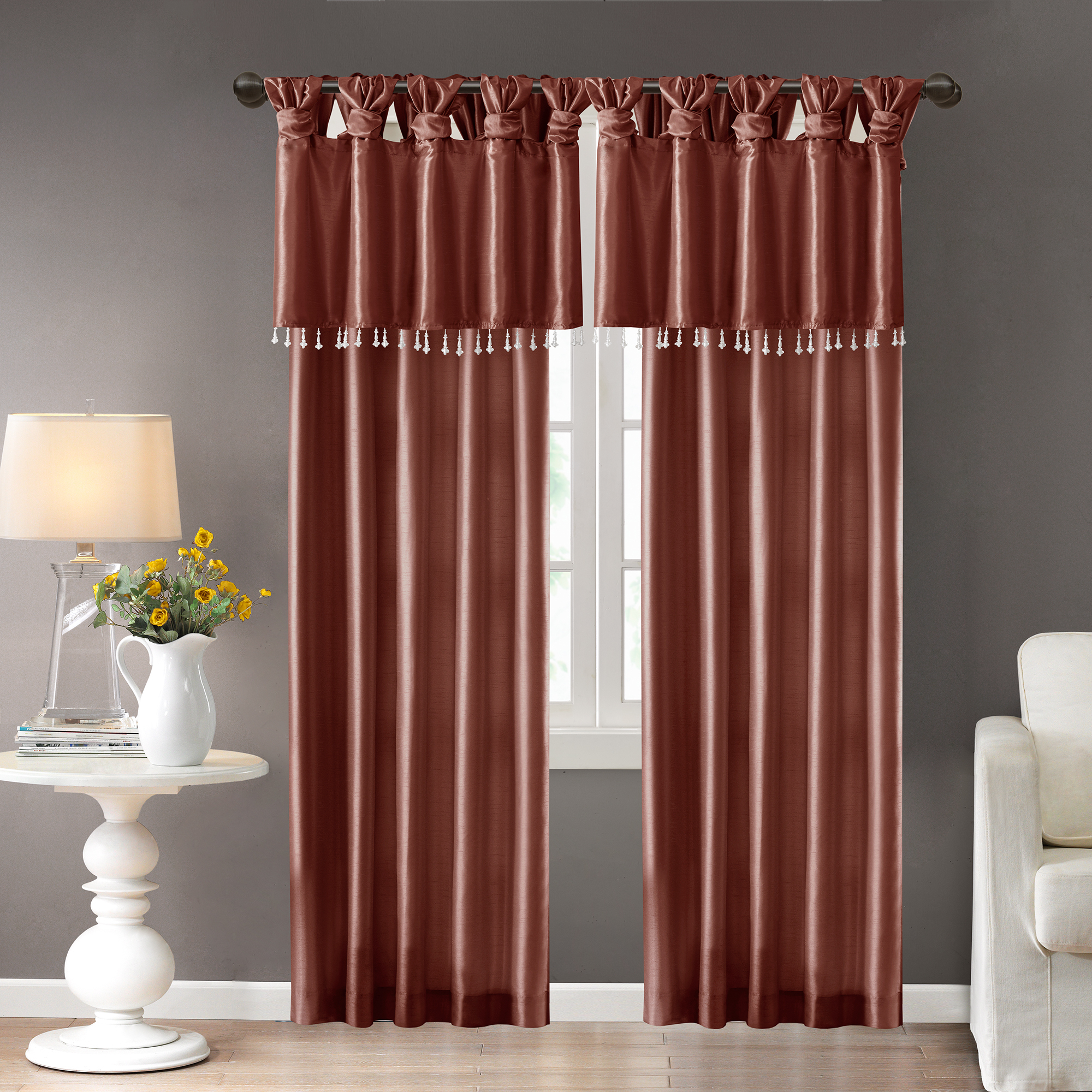 Home Essence Lillian Twist Tab Lined Window Curtain Pertaining To Twisted Tab Lined Single Curtain Panels (View 20 of 30)