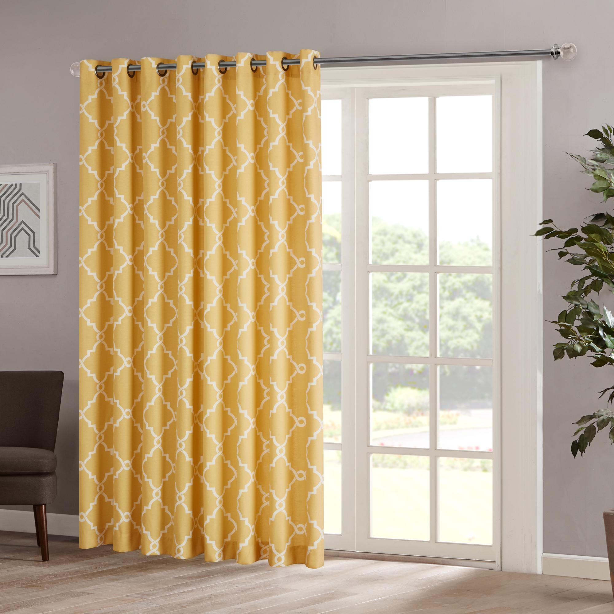 Home Essence Sereno Fretwork Print Patio Window Panel Throughout Fretwork Print Pattern Single Curtain Panels (View 16 of 20)