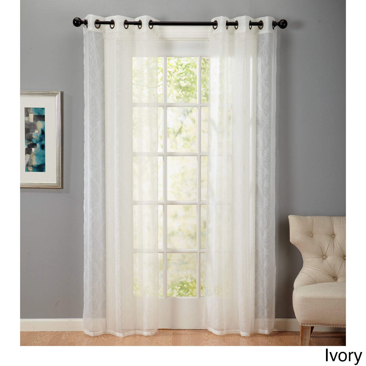 "Home Fashion Designs Beverly Collection Voile Semi-Sheer Embossed Grommet  84"" Curtain Panel Pair - 38 X 84 inside Luxury Collection Venetian Sheer Curtain Panel Pairs (Image 12 of 20)"