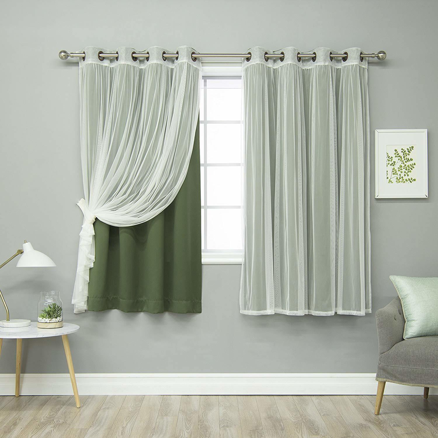 """[hot Item] Moss Home Fashion Mix And Match Tulle Sheer Lace And Blackout 4 Piece Curtain Set Antique Bronze Grommet Top 52"""" W X 84"""" L Curtain With Mix And Match Blackout Tulle Lace Sheer Curtain Panel Sets (View 19 of 20)"""