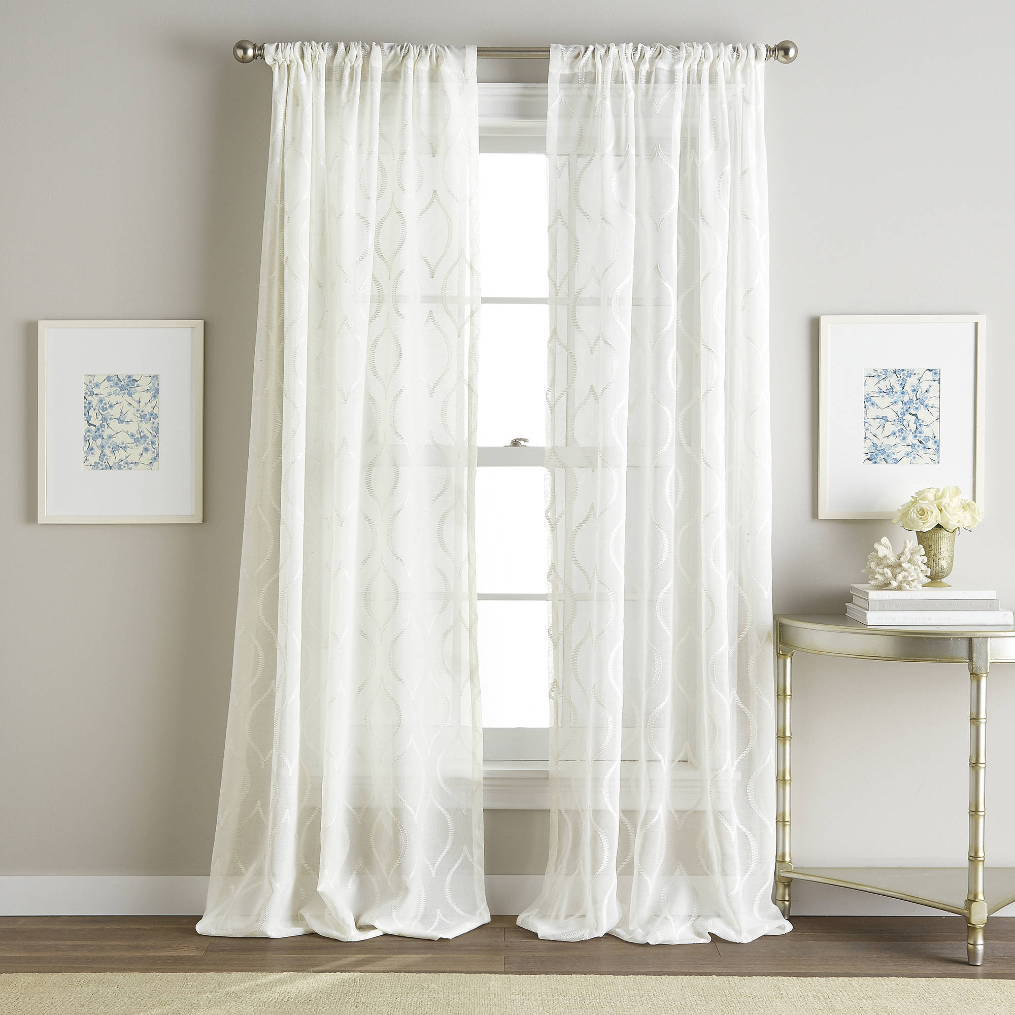 Hourglass Embroidery Poletop Sheer Curtain Panel Inside Kida Embroidered Sheer Curtain Panels (View 10 of 20)