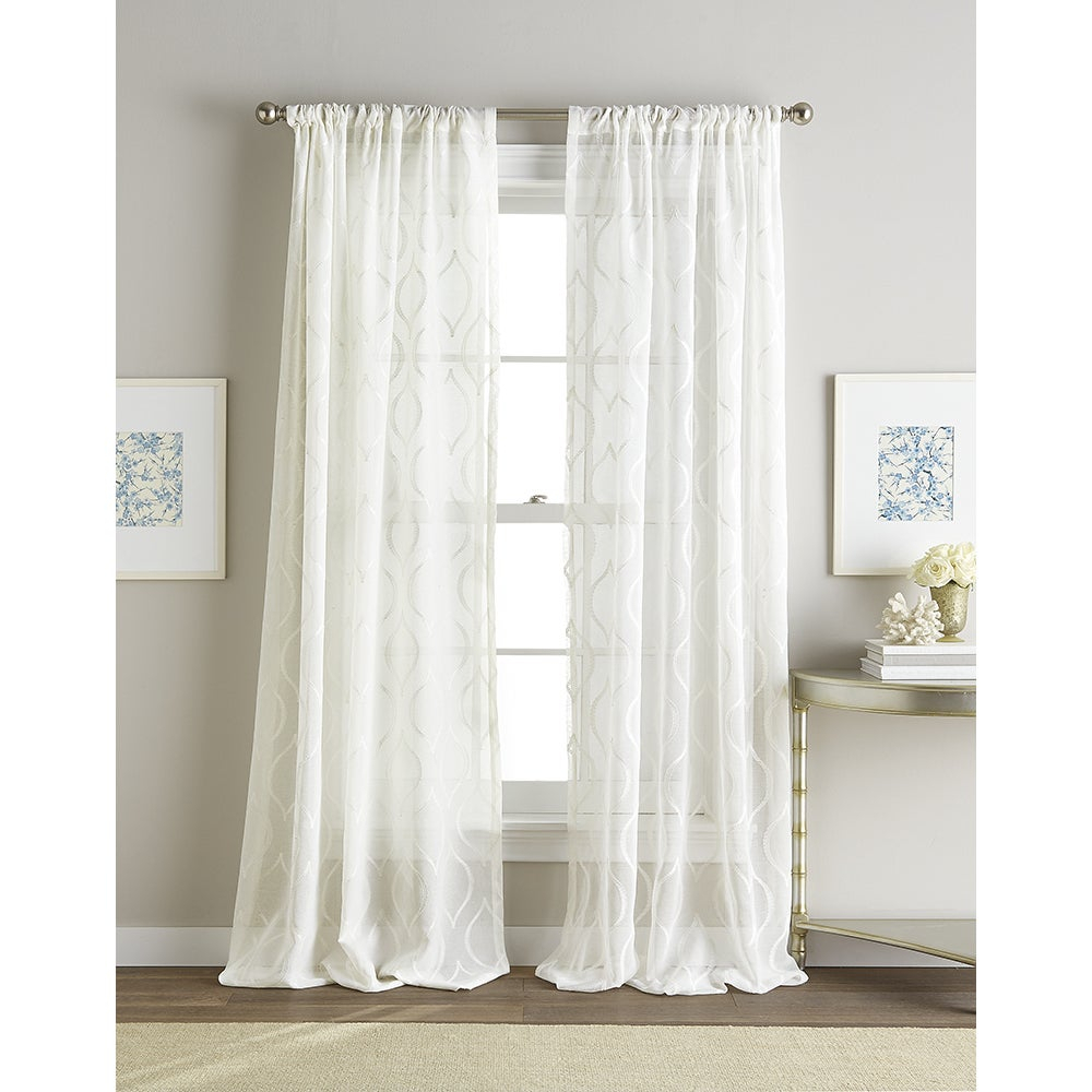 Hourglass White Embroidered Sheer Curtain Panel For Kida Embroidered Sheer Curtain Panels (View 6 of 20)