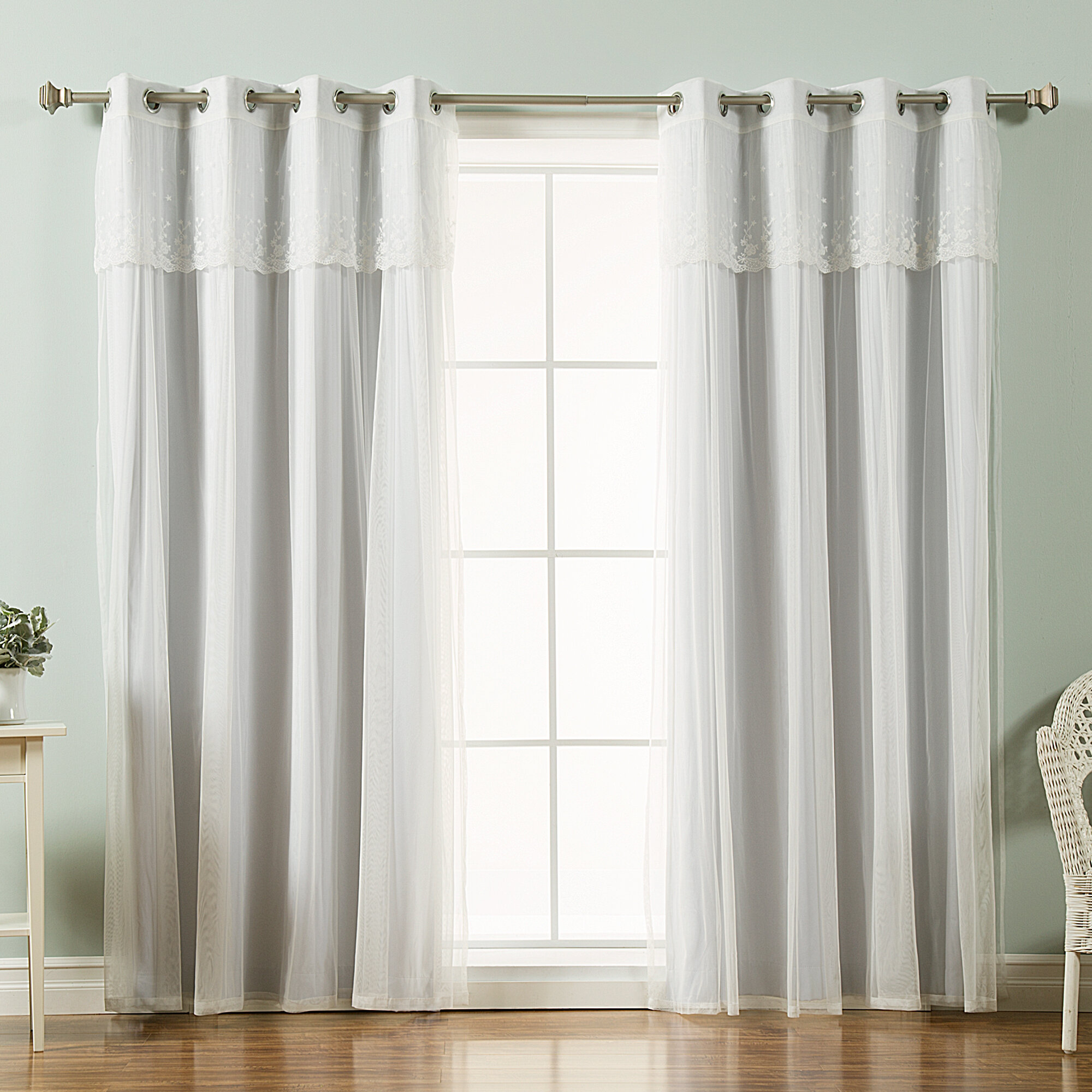 House Of Hampton Granados Tulle Solid Blackout Thermal Throughout Tulle Sheer With Attached Valance And Blackout 4 Piece Curtain Panel Pairs (View 7 of 30)