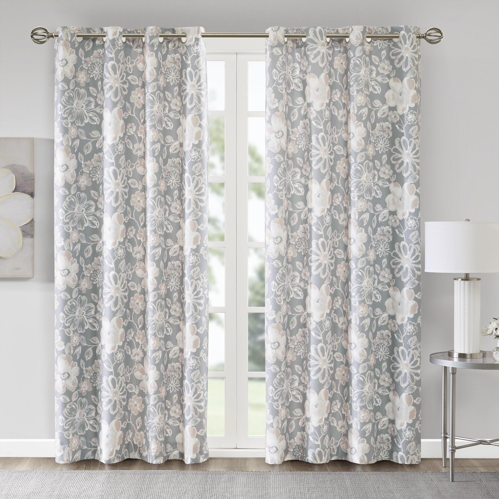 House Of Hampton Jocelyn Lily Floral/flower Room Darkening inside Floral Pattern Room Darkening Window Curtain Panel Pairs (Image 9 of 20)