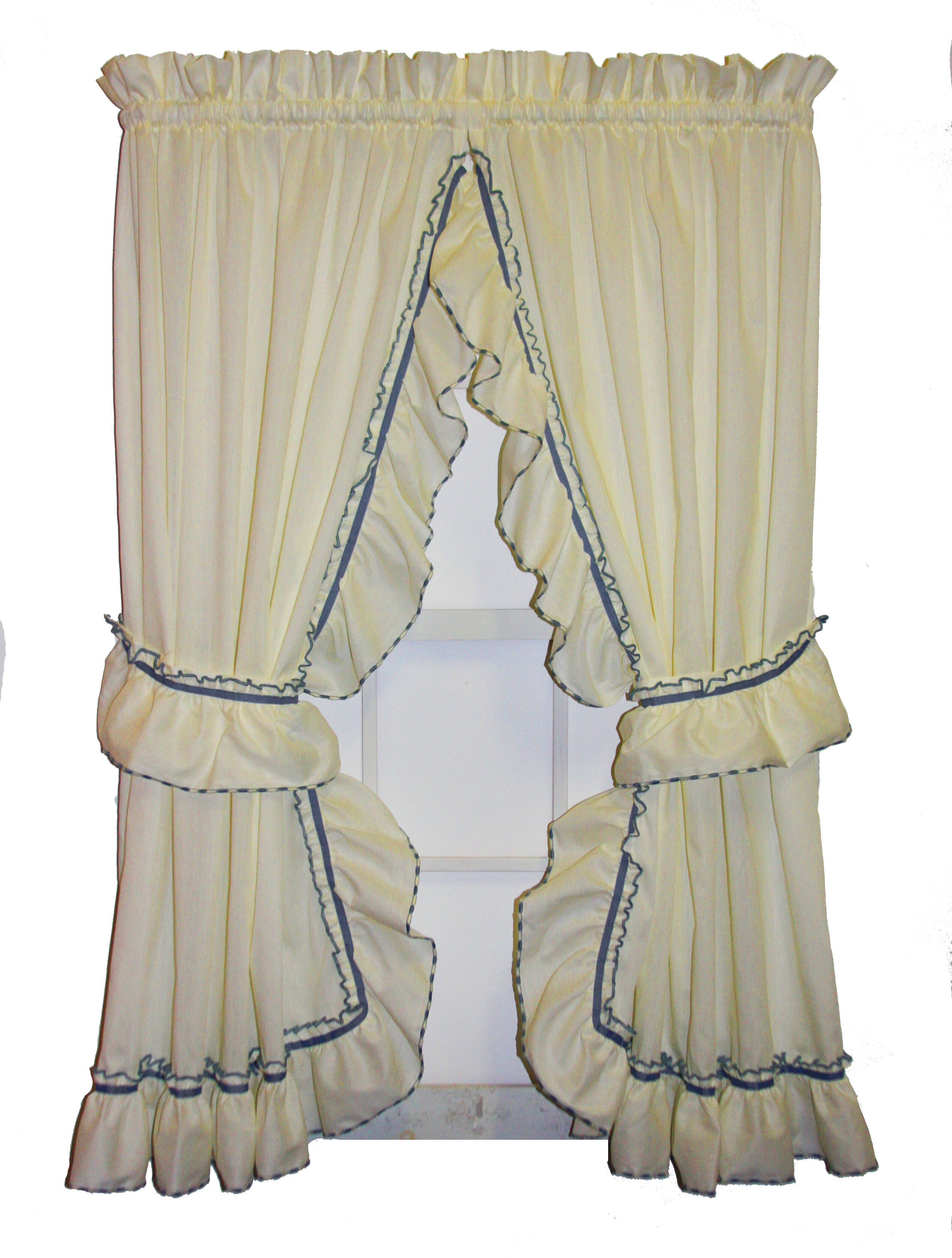 Hower Country Ruffled Priscilla Curtain Panels Pair For Lydia Ruffle Window Curtain Panel Pairs (View 9 of 20)