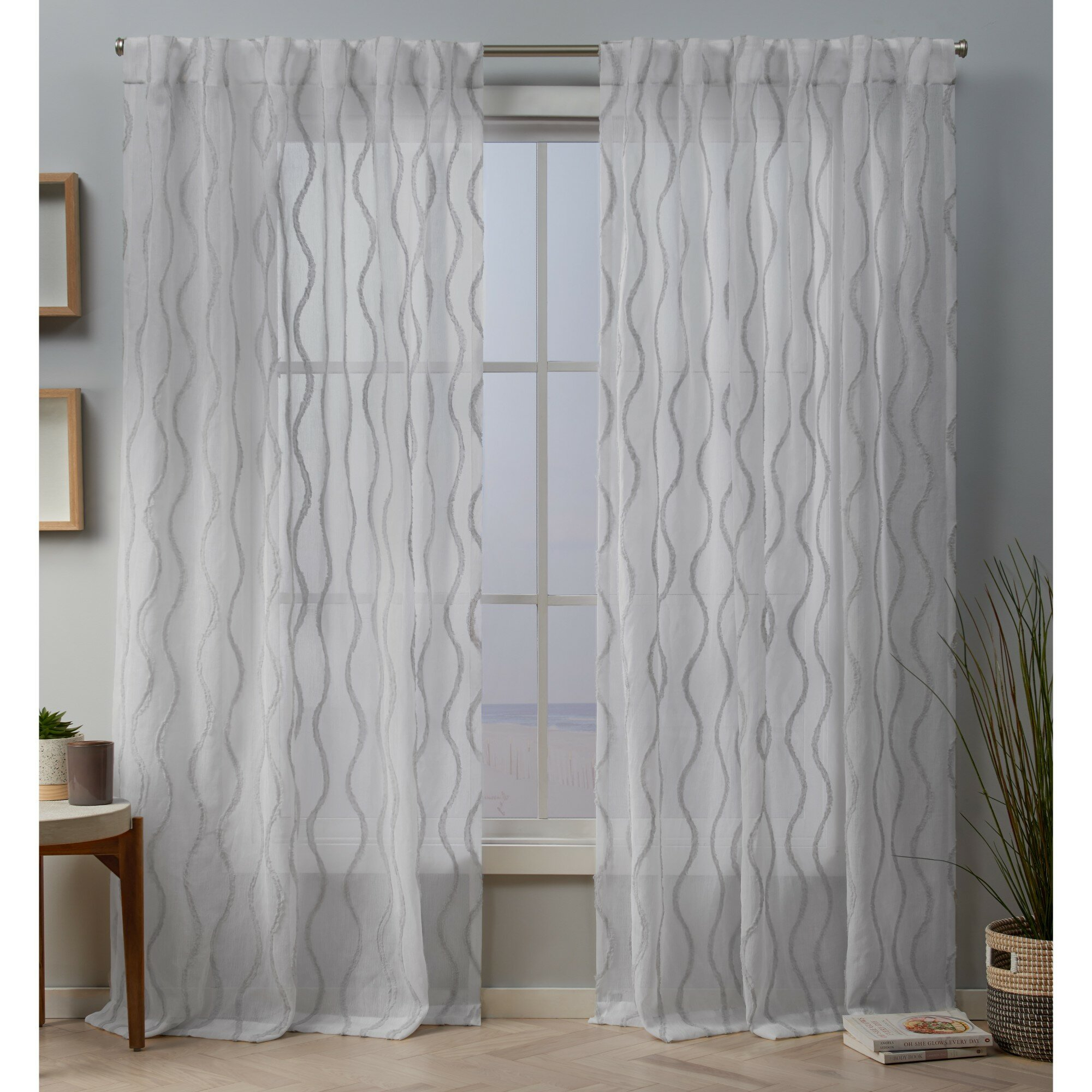 Hulda Sheer Tab Top Panel Pair Throughout Twig Insulated Blackout Curtain Panel Pairs With Grommet Top (View 14 of 30)