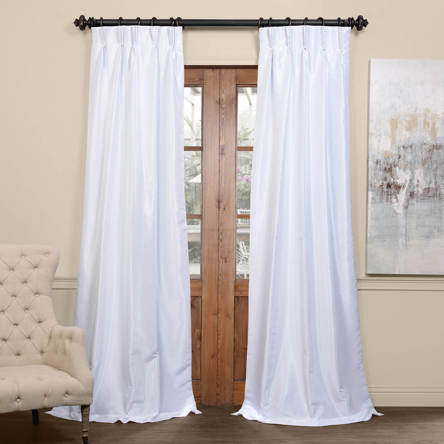 Ice Blackout Vintage Textured Faux Dupioni Pleated Curtain Pertaining To Ice White Vintage Faux Textured Silk Curtain Panels (View 15 of 20)