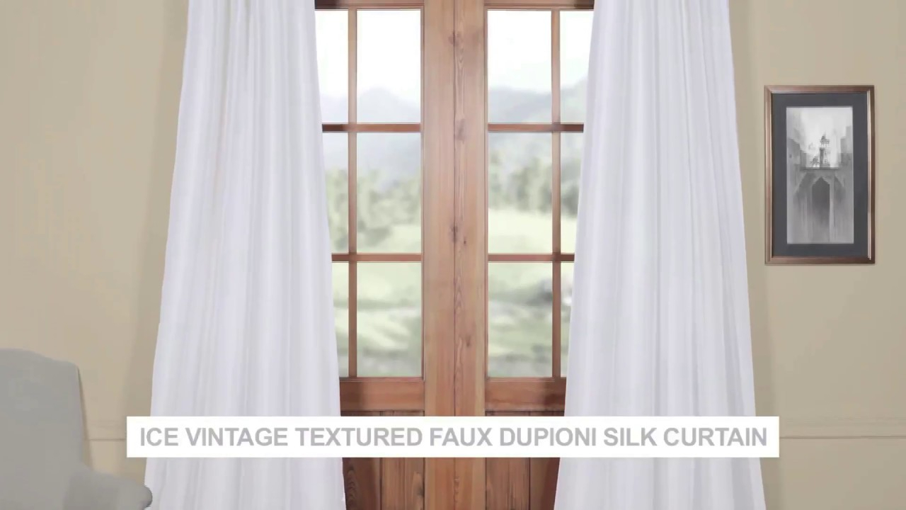 Ice Vintage Textured Faux Dupioni Silk Curtain In Vintage Textured Faux Dupioni Silk Curtain Panels (View 22 of 30)