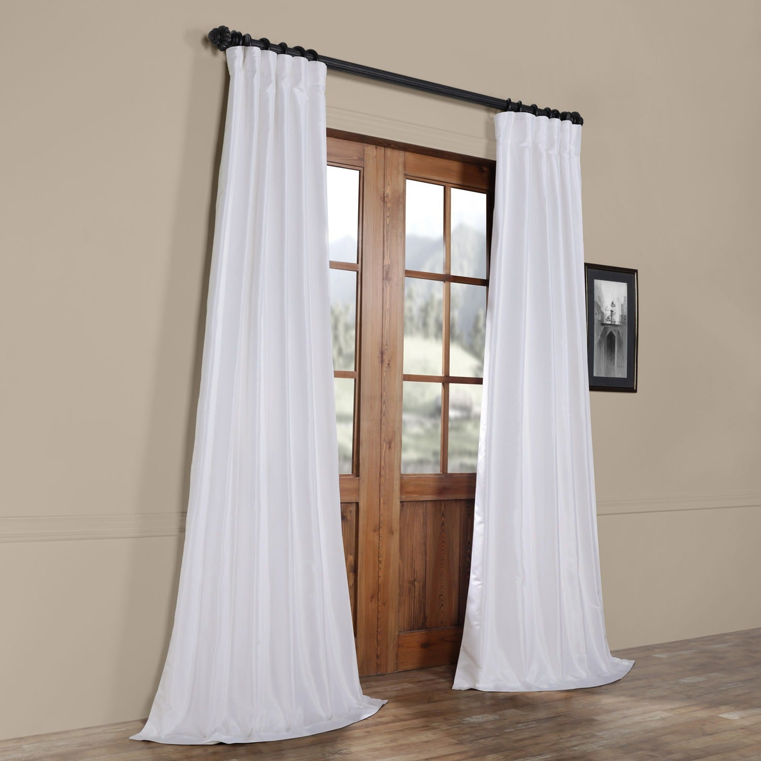 Ice White Vintage Faux Textured Dupioni Silk 108l Curtain Panel In Ice White Vintage Faux Textured Silk Curtain Panels (View 3 of 20)