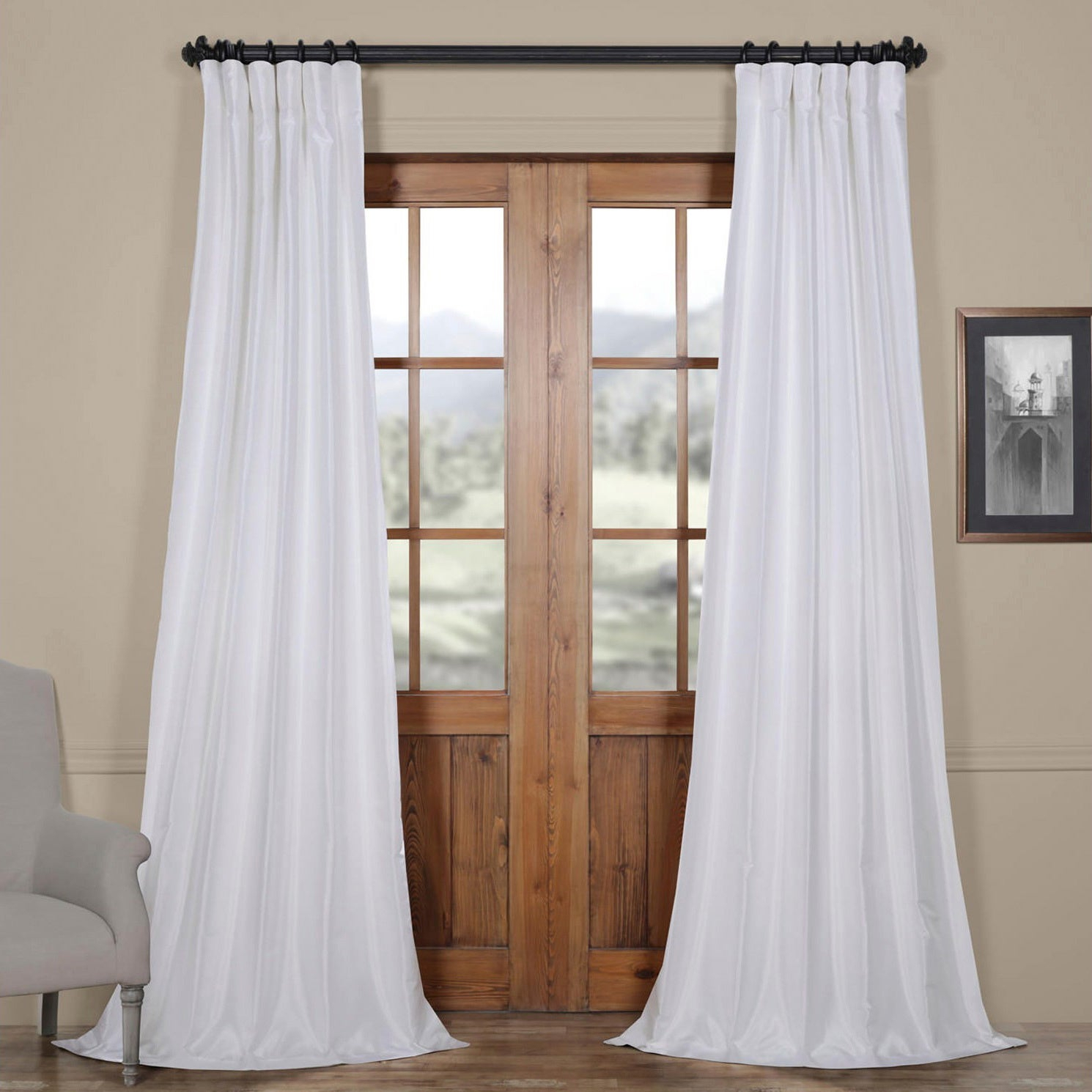 Popular Photo of Ice White Vintage Faux Textured Silk Curtain Panels