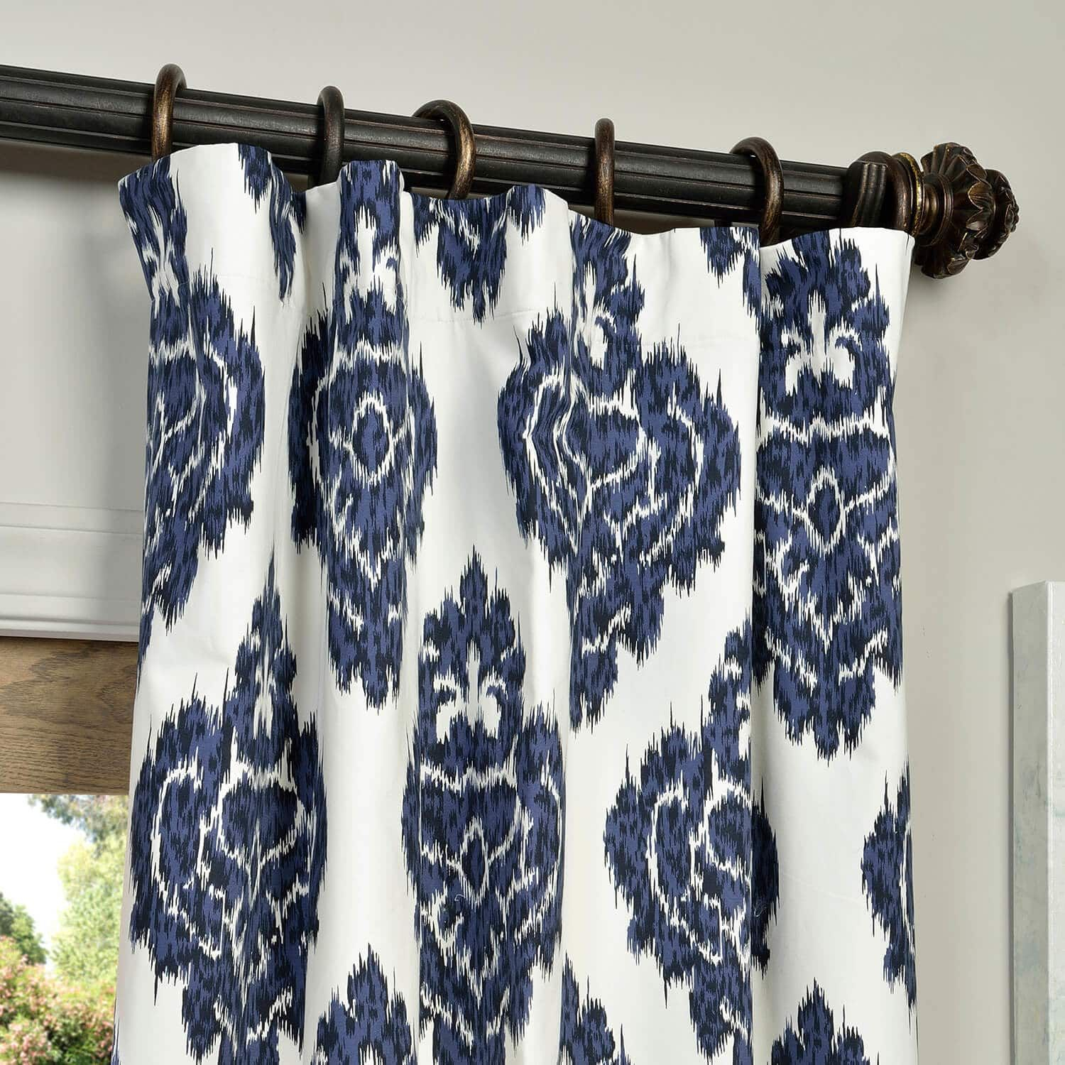 Ikat Blue Printed Cotton Curtain In 2019 | Fabric Throughout Ikat Blue Printed Cotton Curtain Panels (View 18 of 20)