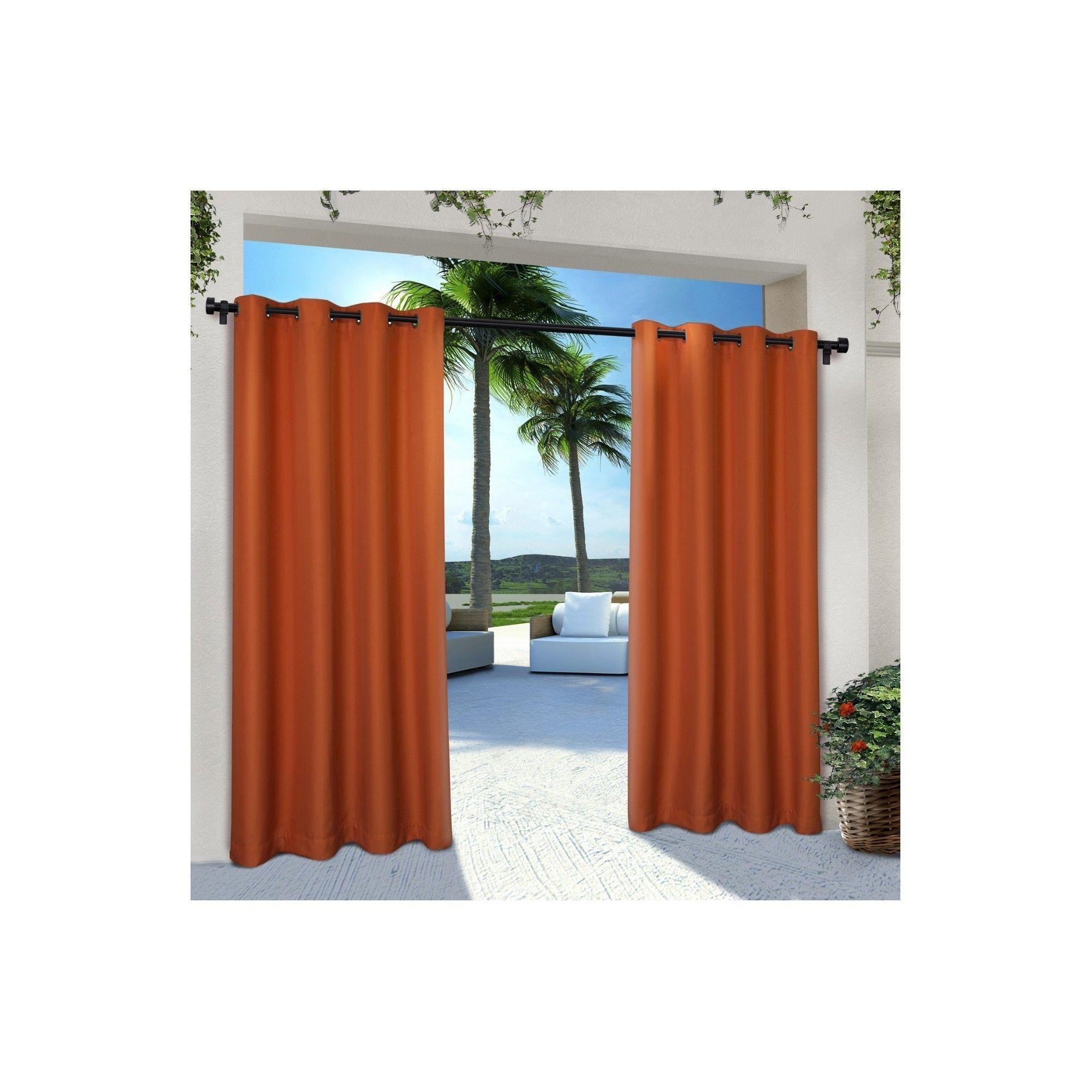 Indoor/outdoor Solid Cabana Grommet Top Window Curtain Panel Inside Indoor/outdoor Solid Cabana Grommet Top Curtain Panel Pairs (View 17 of 20)