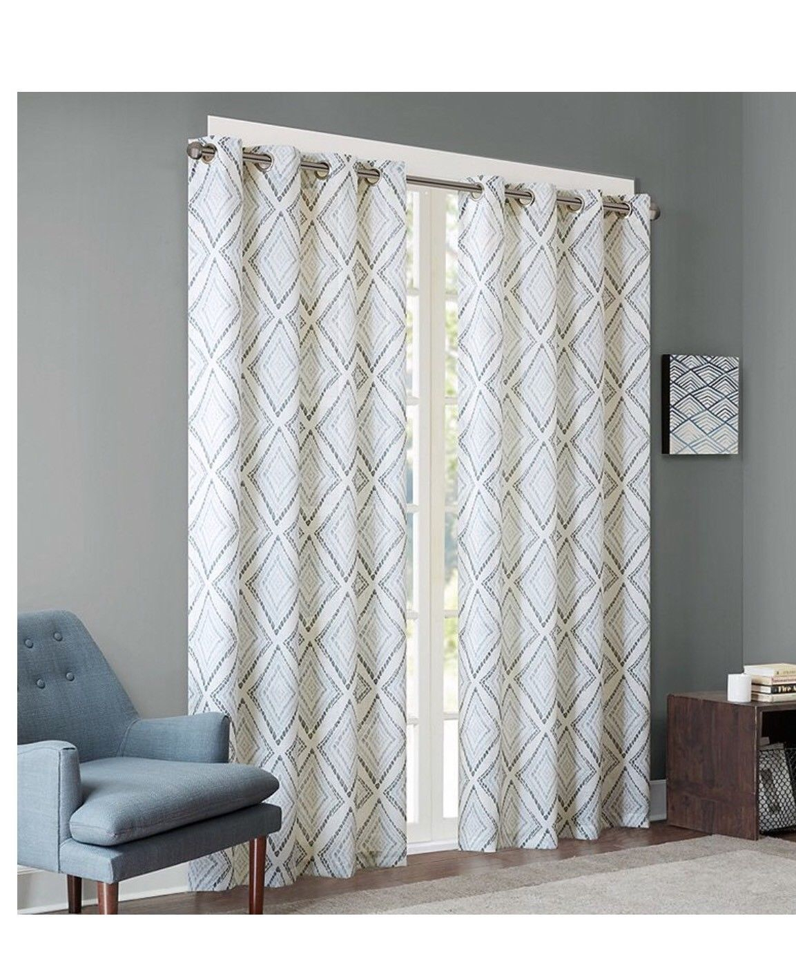 "Ink+Ivy Bas Printed Etched Diamond Window Set Of 2 Panels 50X95"" Grey #ii40 720 Intended For Ink Ivy Ankara Cotton Printed Single Curtain Panels (View 11 of 20)"