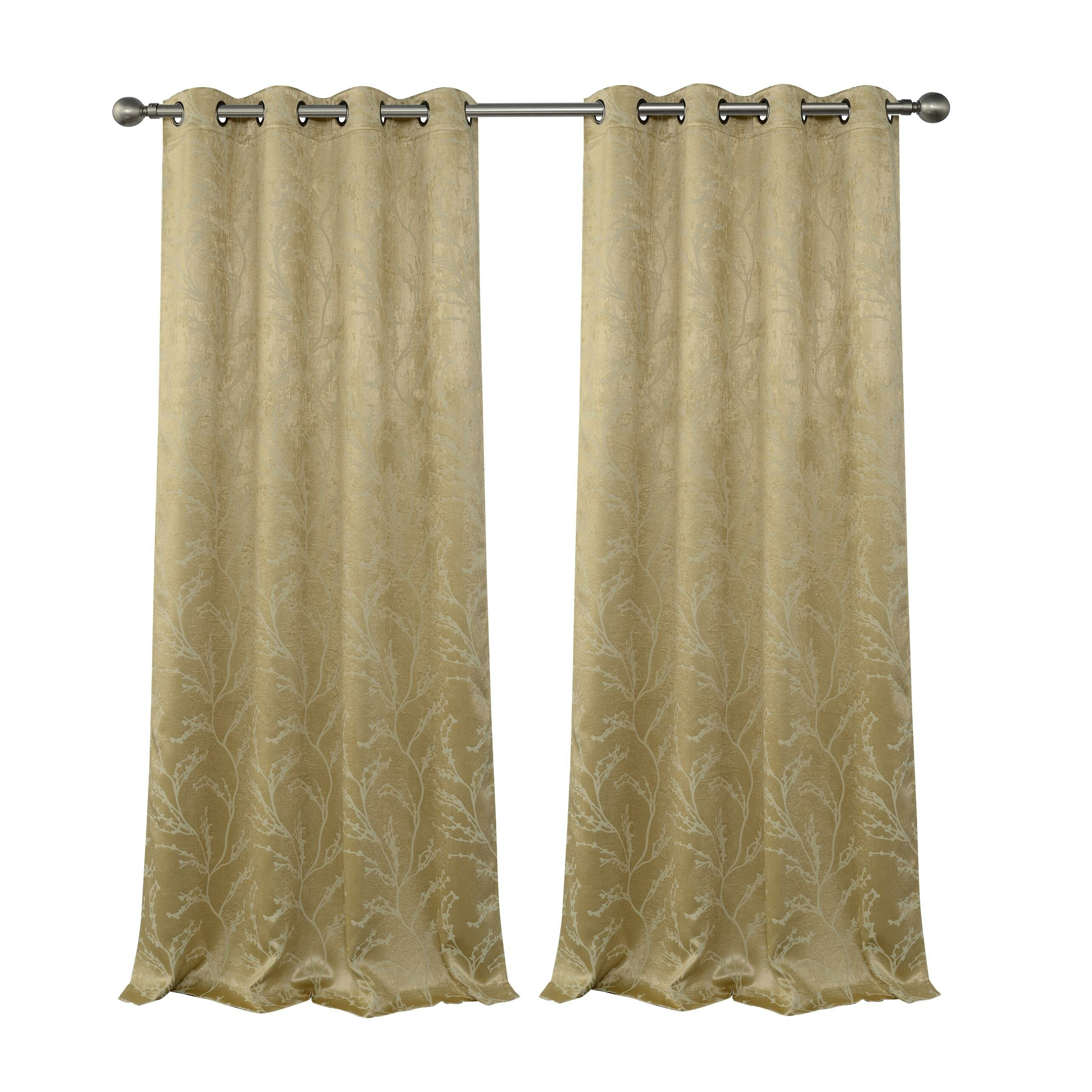 Inoue Reversible Top Floral Blackout Thermal Grommet Curtain Panels Inside Total Blackout Metallic Print Grommet Top Curtain Panels (View 24 of 36)